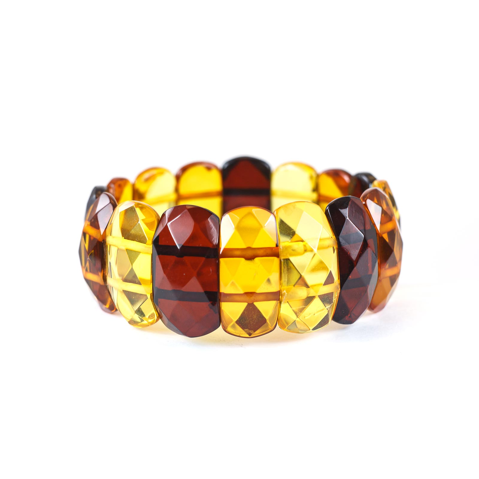 "Baltic Amber Faceted Bracelet ""Snake"" Multi color"