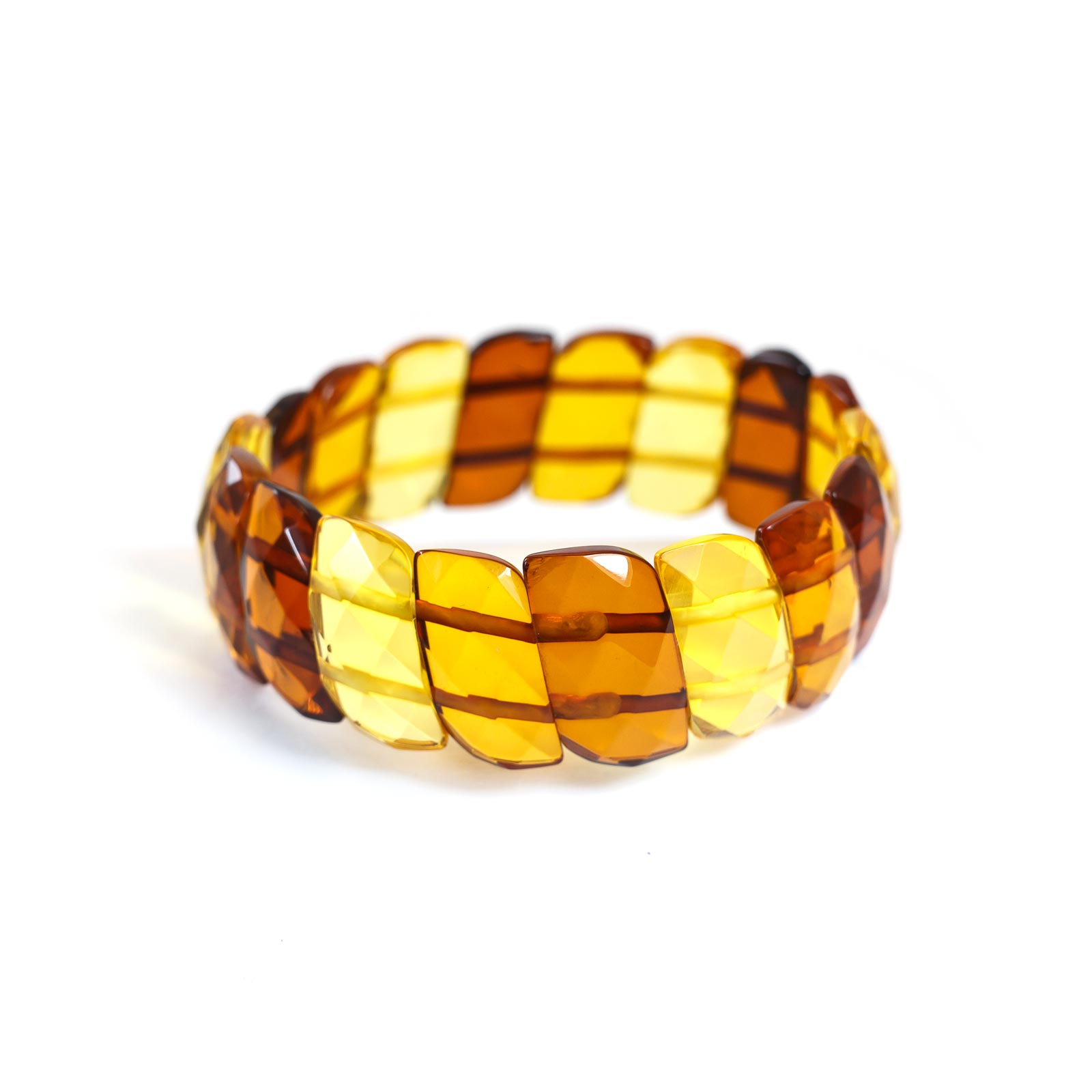 """Baltic Amber Faceted Bracelet """"Twisted"""" Multi color"""