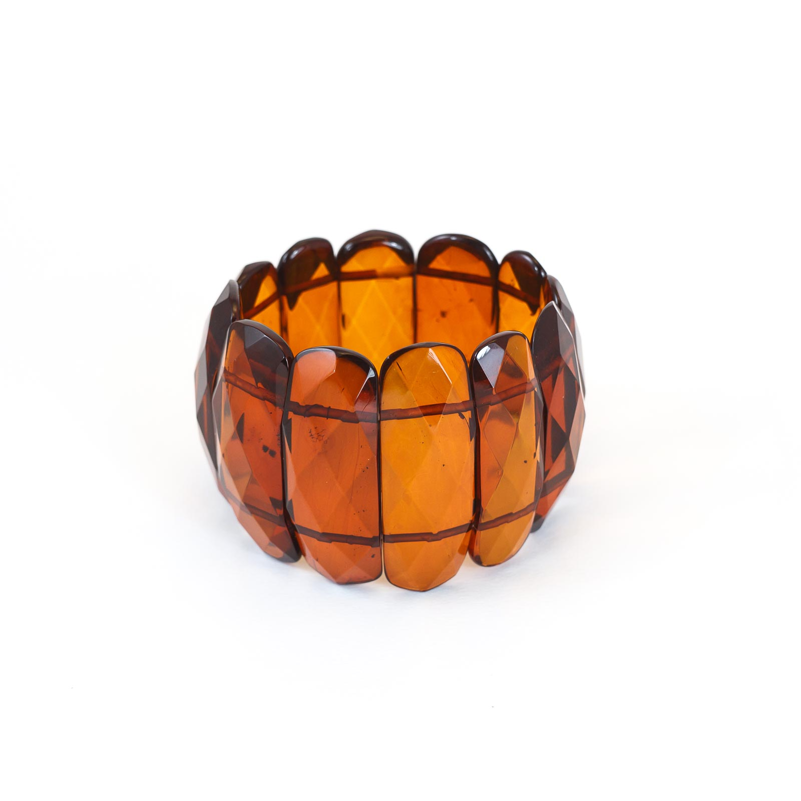 "Baltic Amber Faceted Bracelet ""Umbrella II"" Cherry"