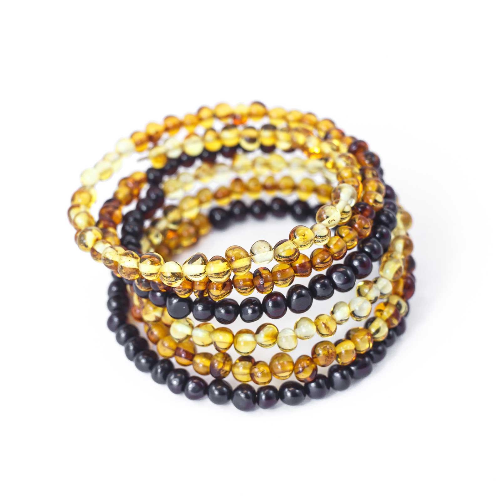 "Baltic Amber Bracelet ""Snake"" Cognac and Cherry"