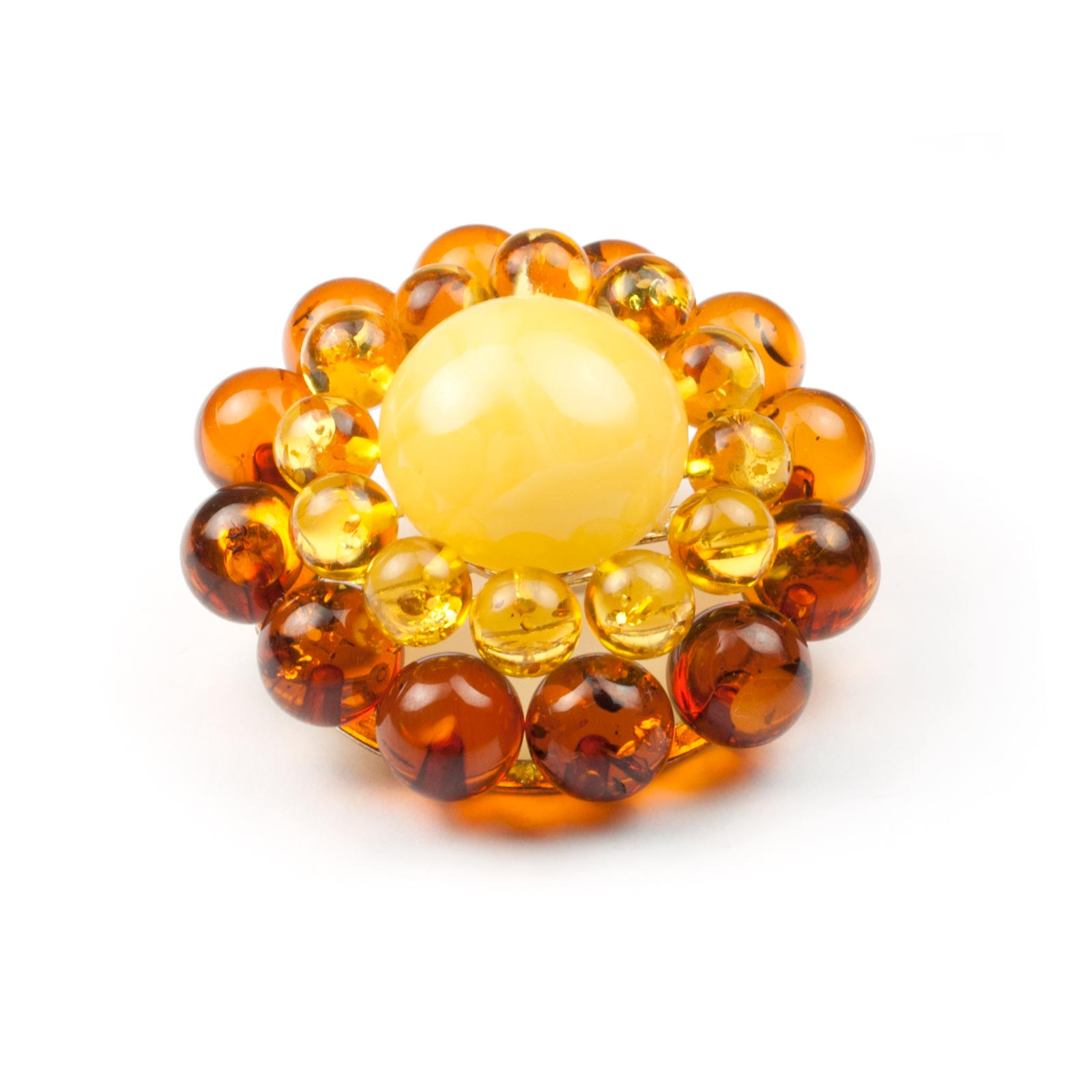 "Natural Baltic Amber Brooch ""Flower"""