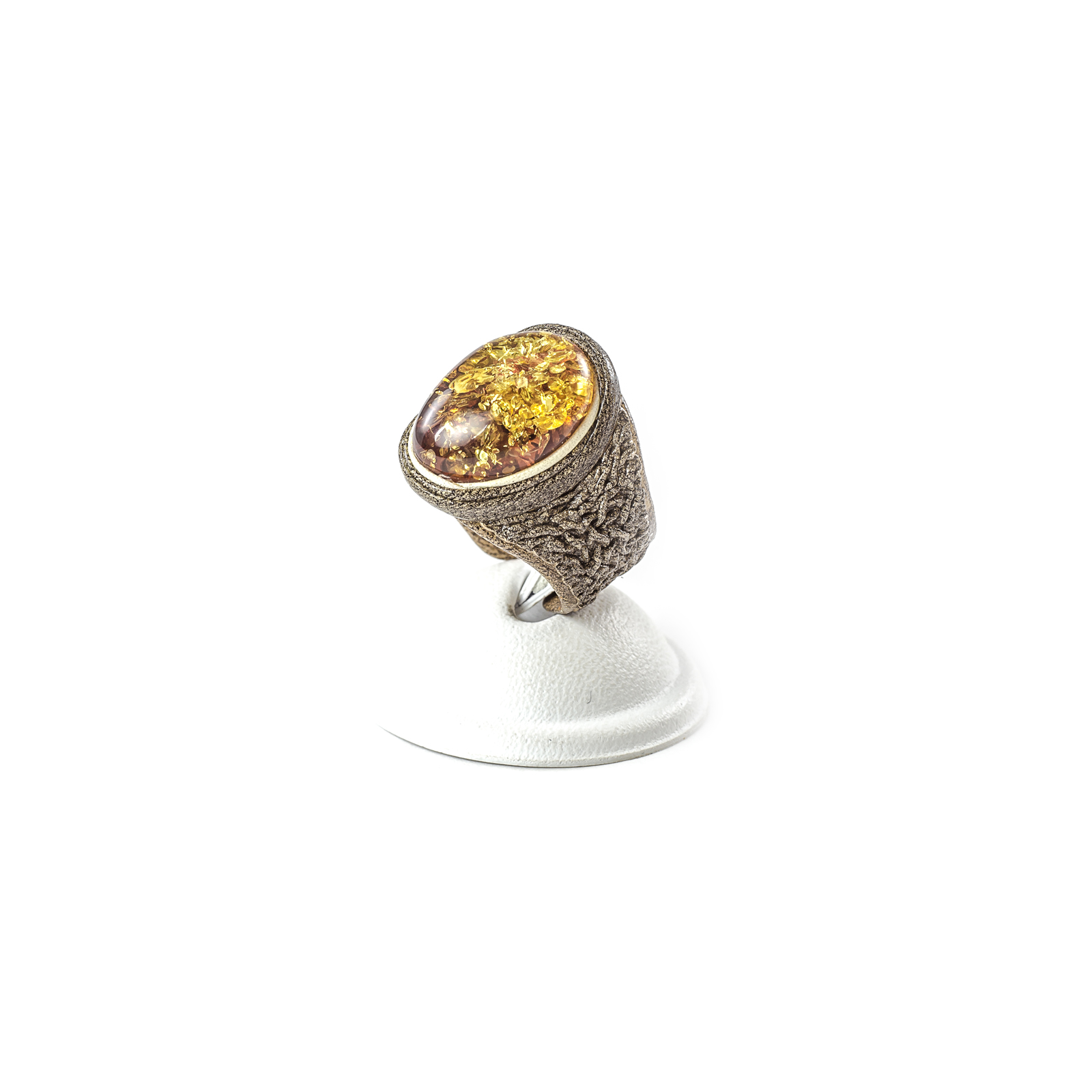 """Leather Ring with Natural Baltic Amber """"Bastian"""""""