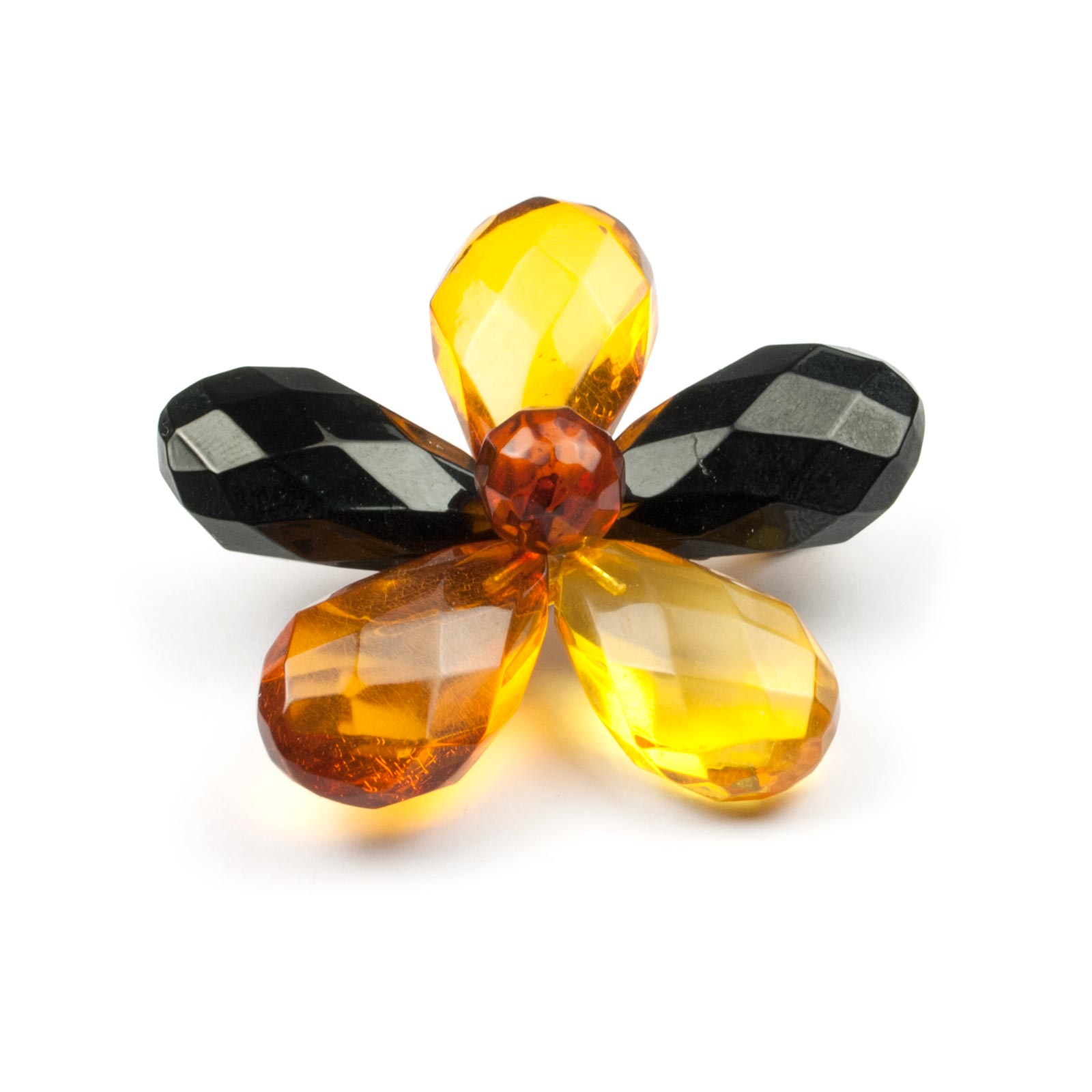 "Natural Baltic Amber Brooch ""Flower II"""