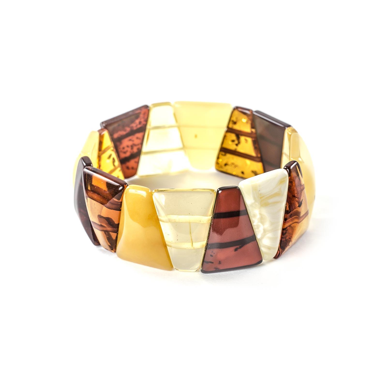 "Natural Baltic Amber Bracelet ""Triad"" Multi Color"
