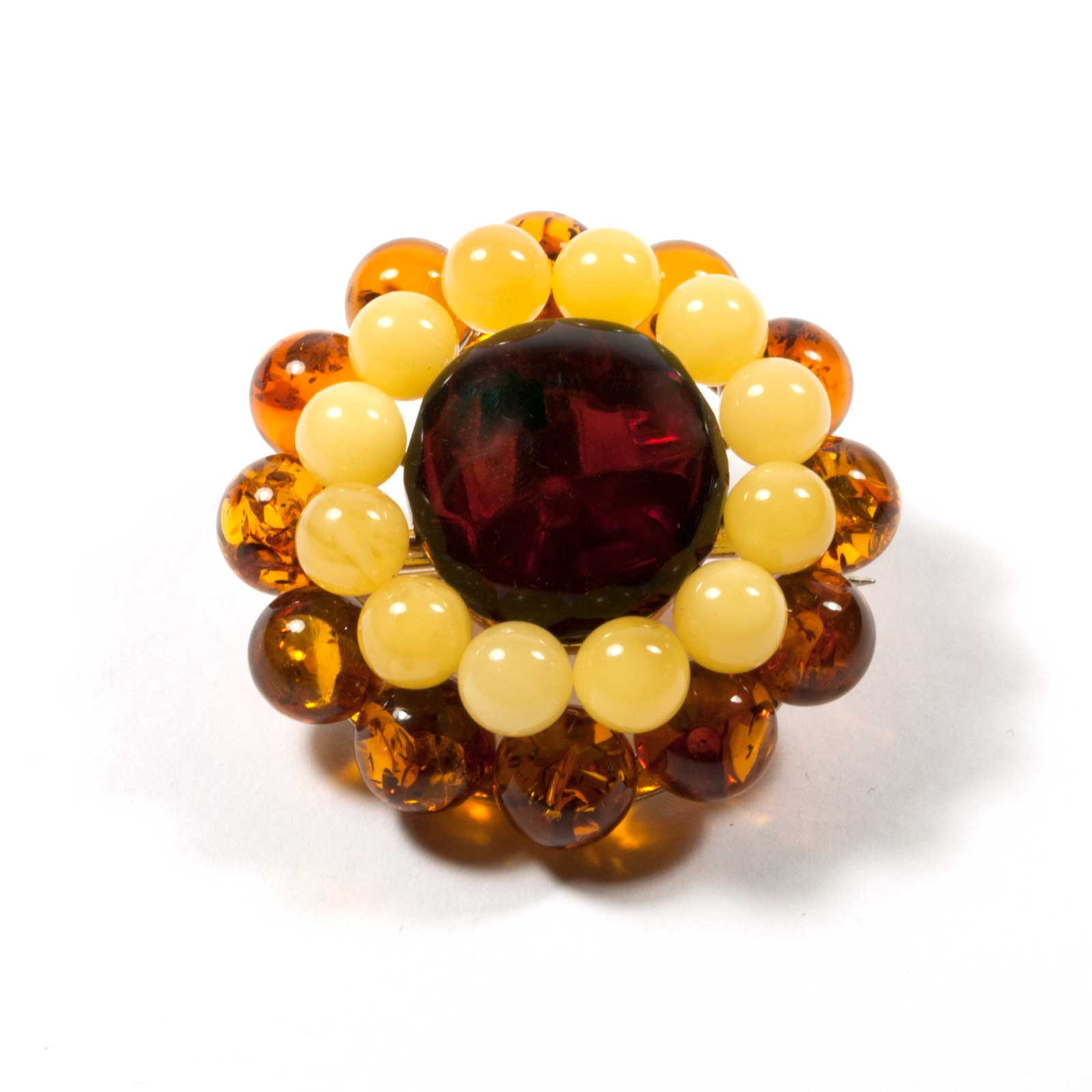 "Natural Baltic Amber Brooch ""Daisy"""