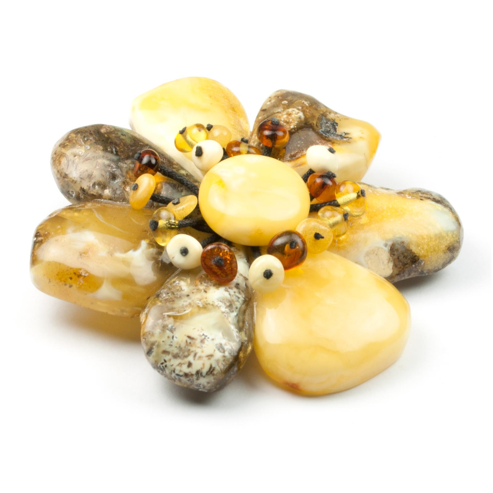"Natural Baltic Amber Brooch/Pendant ""Stone Flower"""
