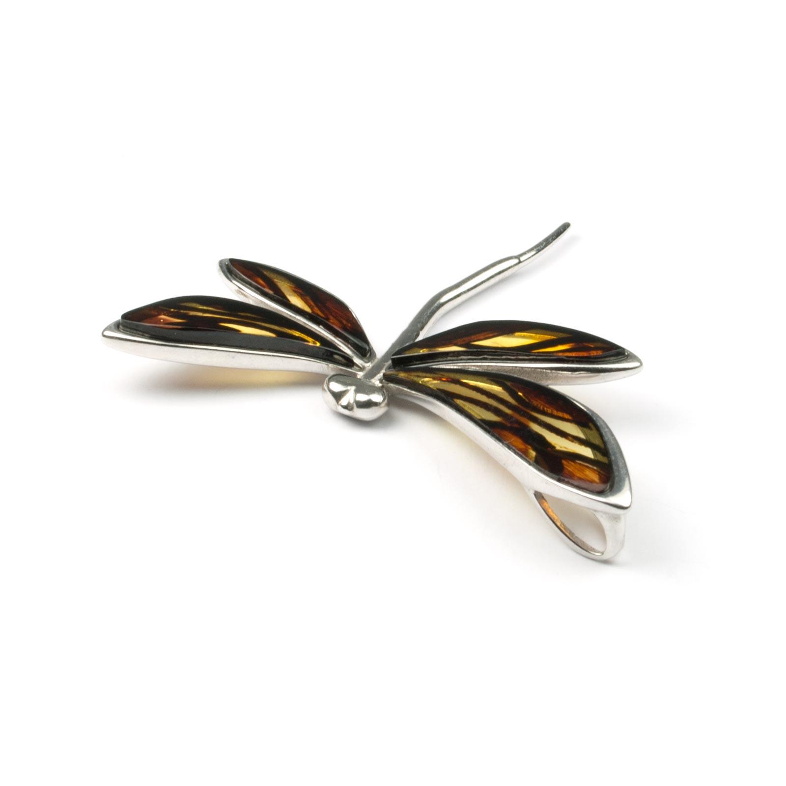 "Natural Baltic Amber Pendant ""Dragonfly"""