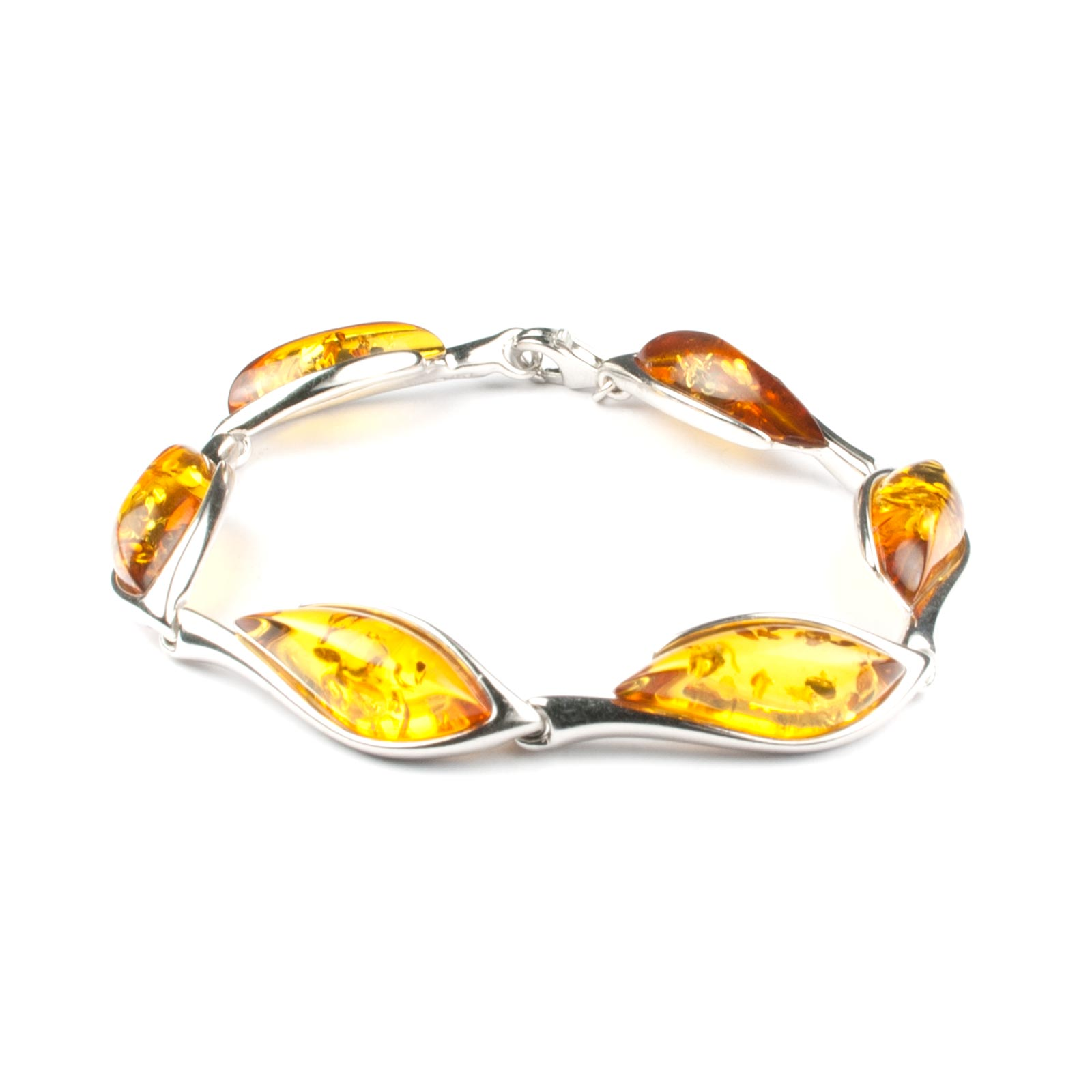 "Silver Bracelet with Natural Baltic Amber ""Venera"" Cognac"