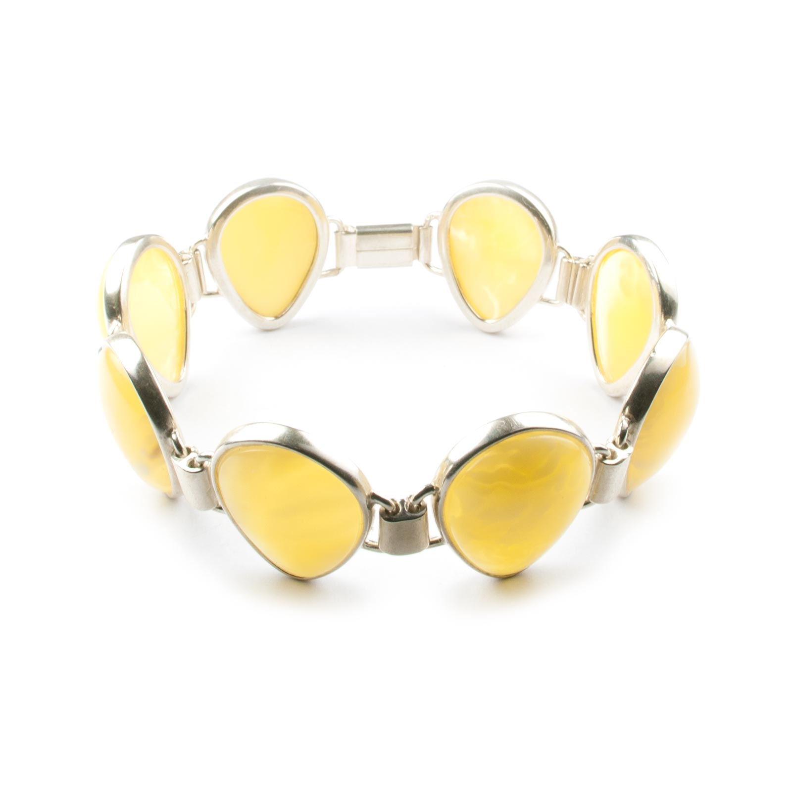 "Silver Chain Bracelet with Natural Baltic Amber ""Belle"""