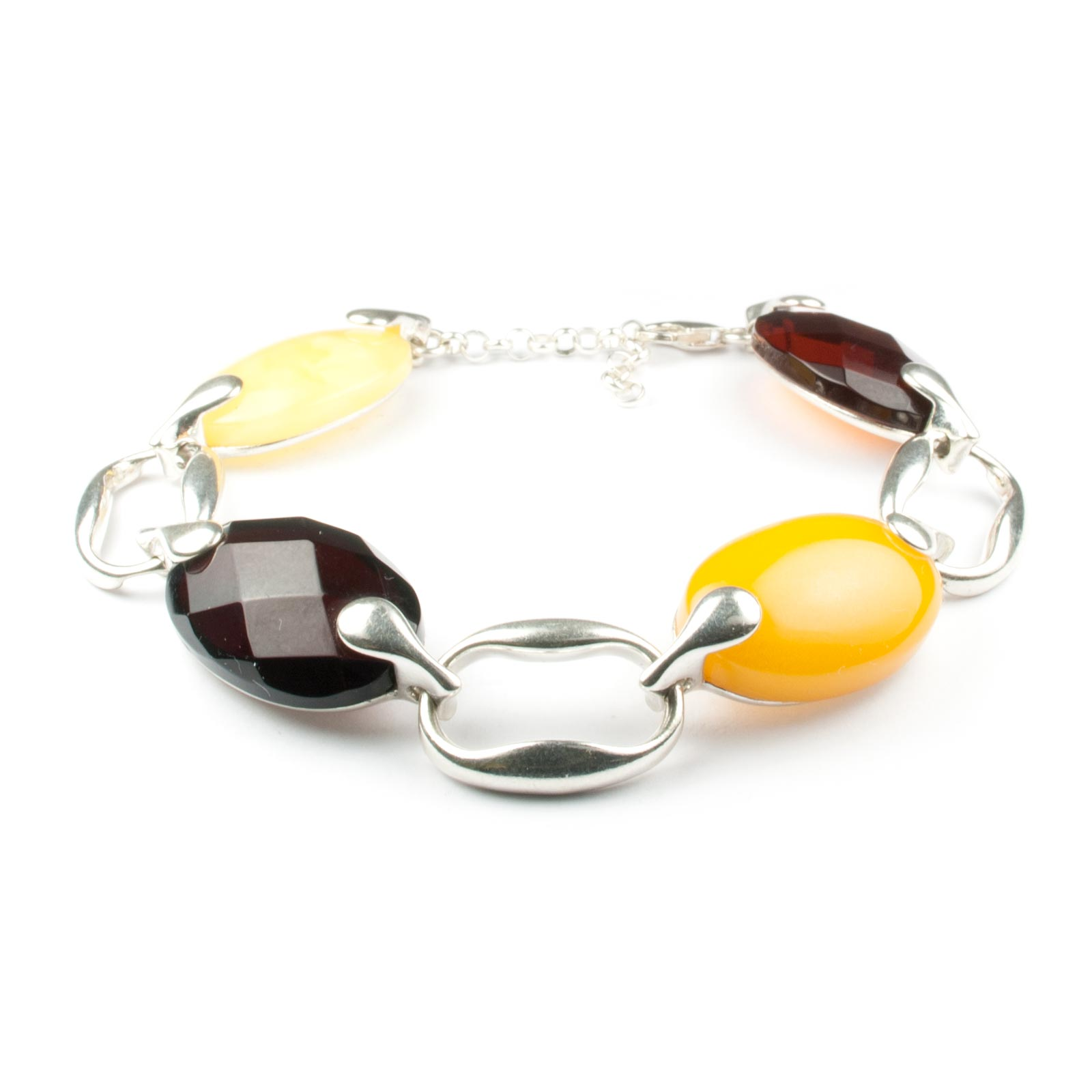 "Silver Chain Bracelet with Natural Baltic Amber ""Fashion"""