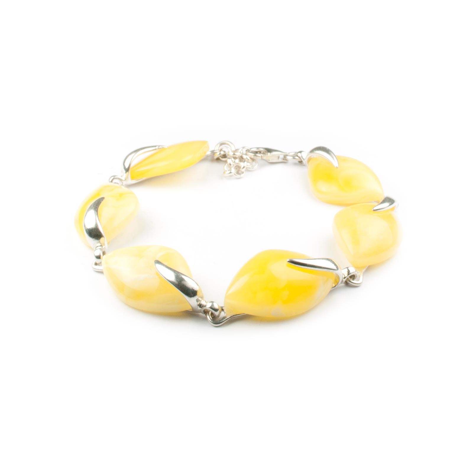 "Silver Chain Bracelet with Natural Baltic Amber ""Heaven"""