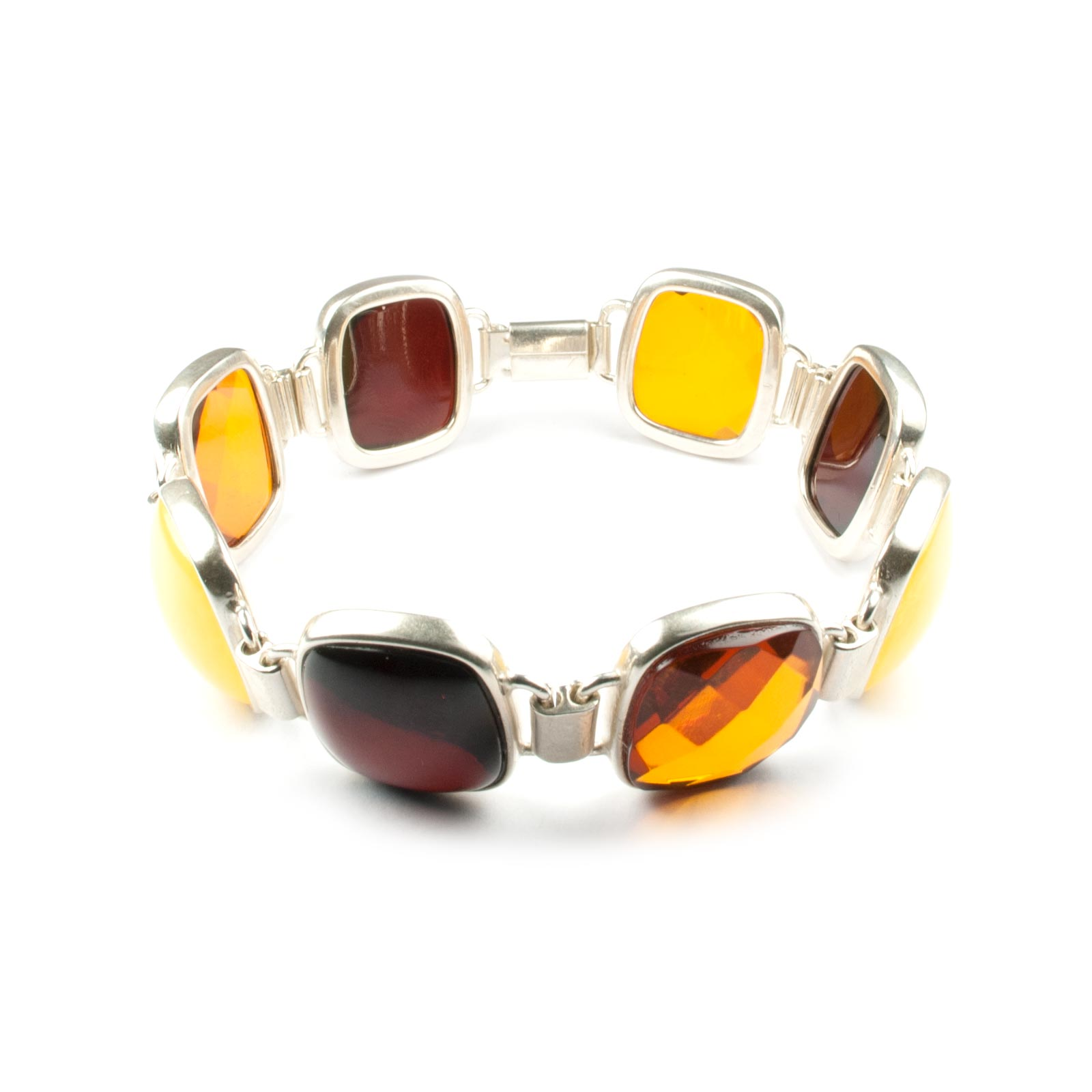 "Silver Chain Bracelet with Natural Baltic Amber ""London"""