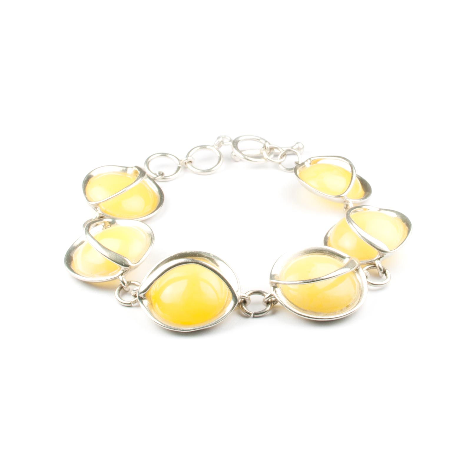 "Silver Chain Bracelet with Natural Baltic Amber ""Zoom"""
