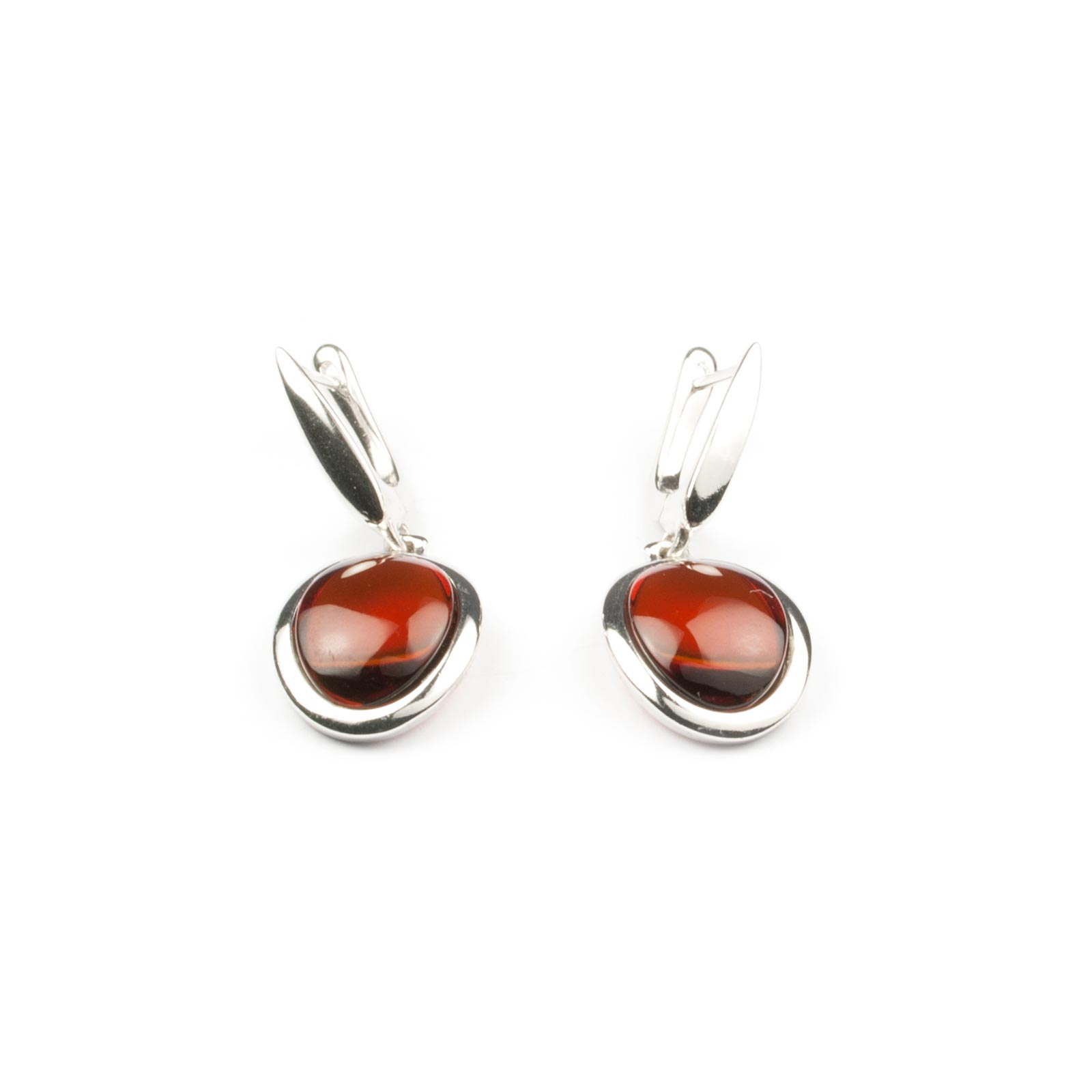 "Silver Earrings with Natural Baltic Amber ""Paris"""