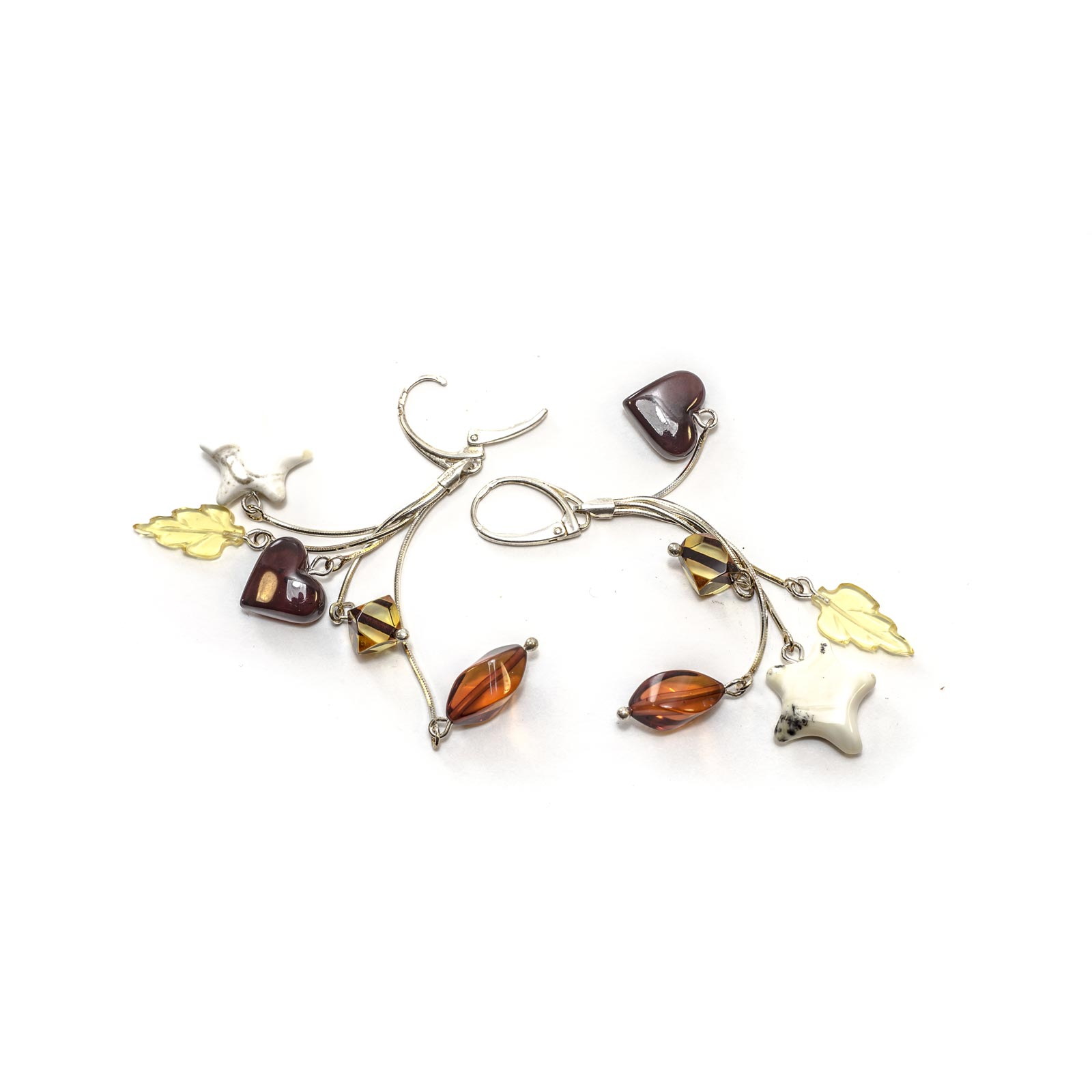 "Silver Earrings with Natural Baltic Amber ""Assorted"""