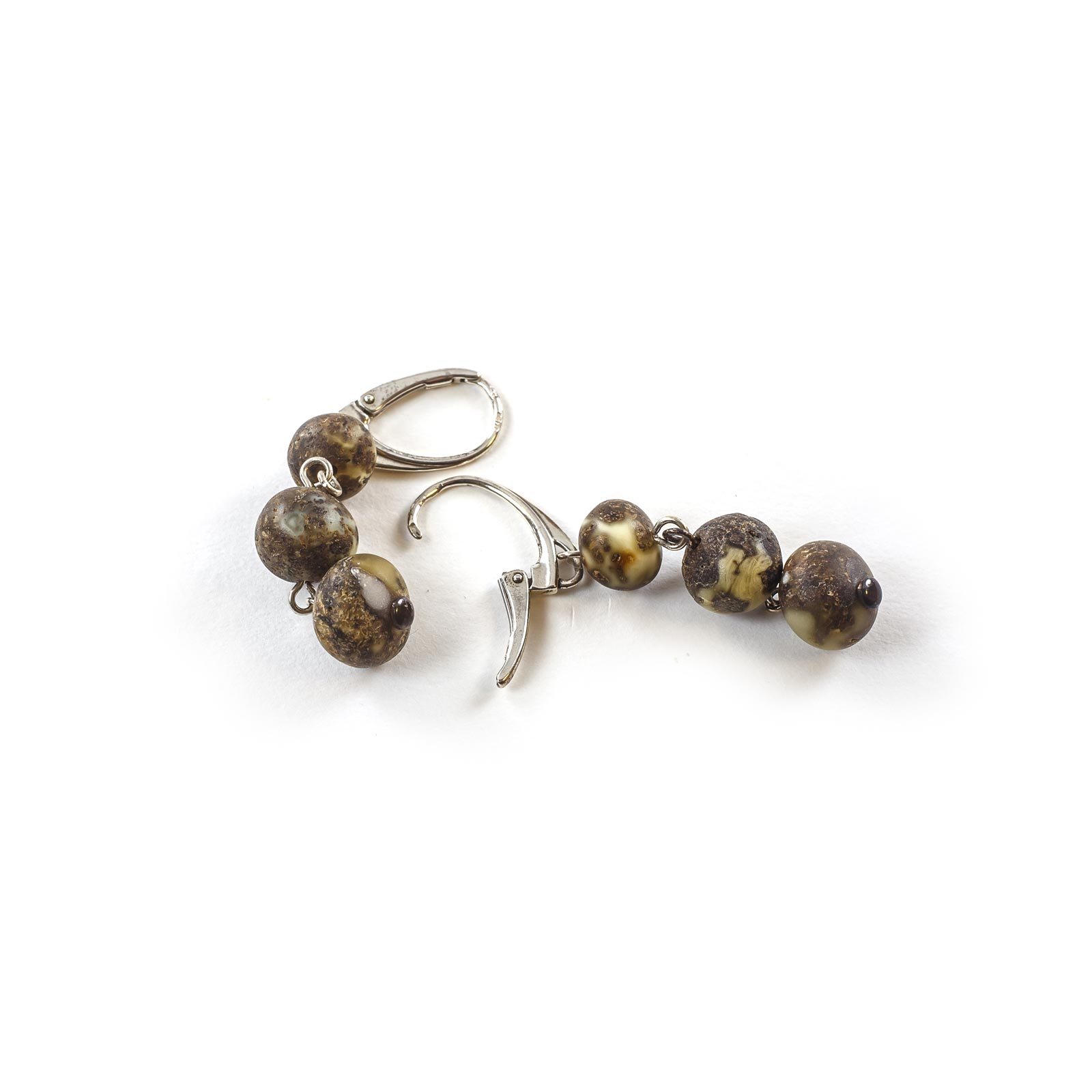 """Silver Earrings with Natural Baltic Amber """"Blueberry"""""""