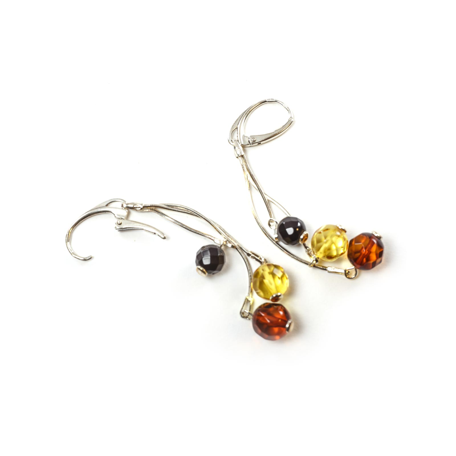 """Silver Earrings with Natural Baltic Amber """"Cranberries"""""""