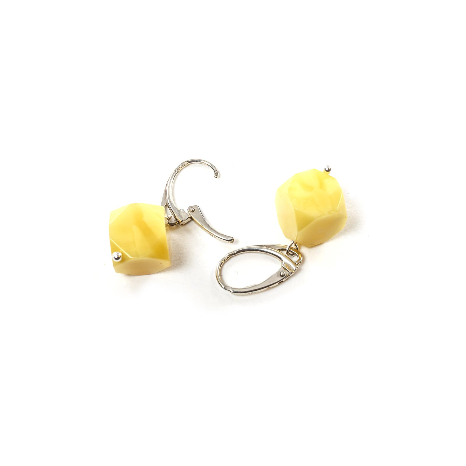 "Silver Earrings with Natural Baltic Amber ""Dices"""