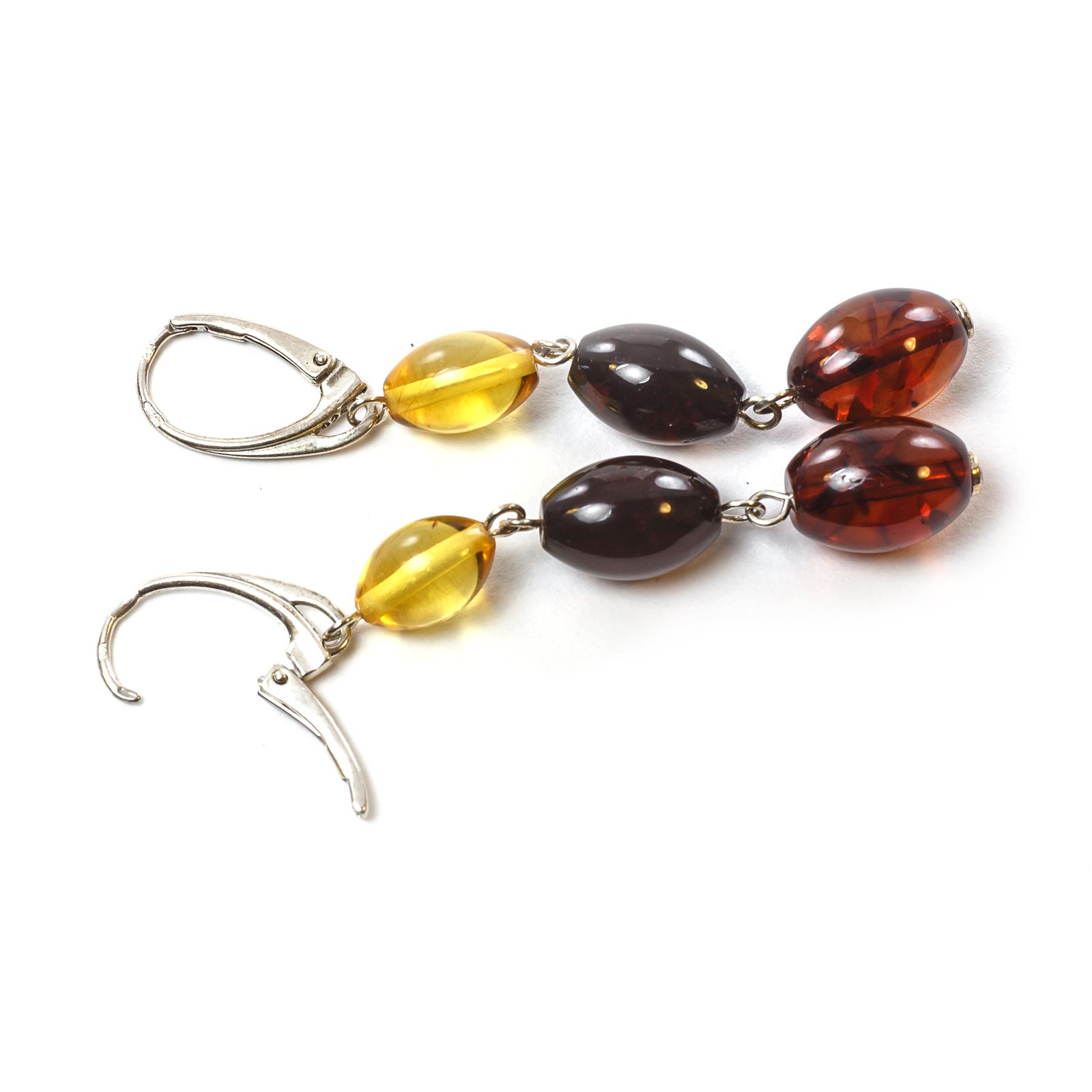 "Silver Earrings with Natural Baltic Amber ""Dream"""