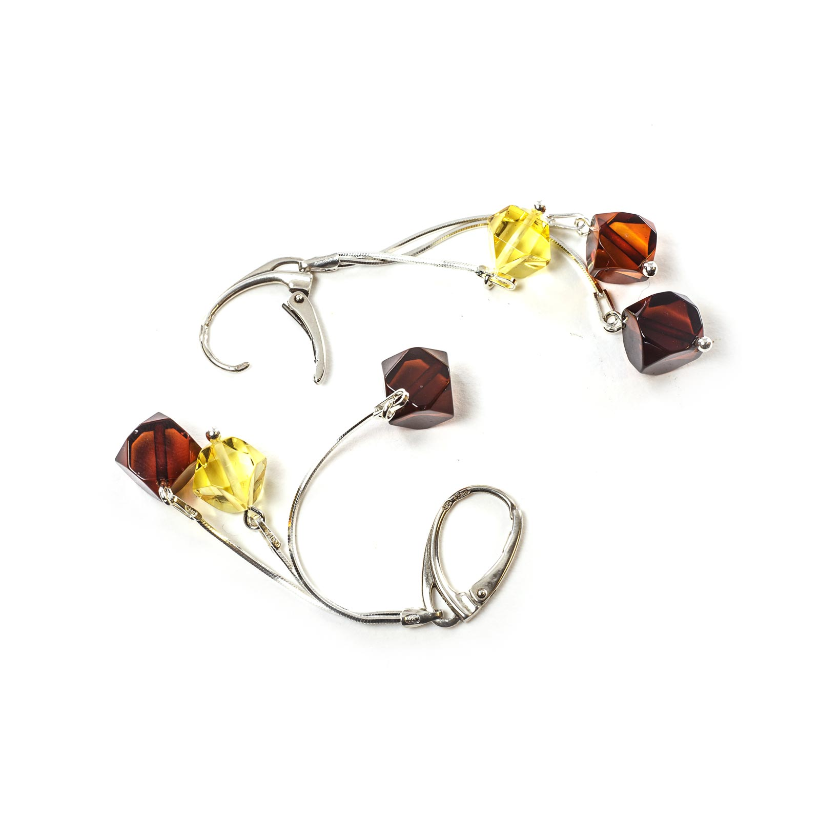 "Silver Earrings with Natural Baltic Amber ""Intrigue"""