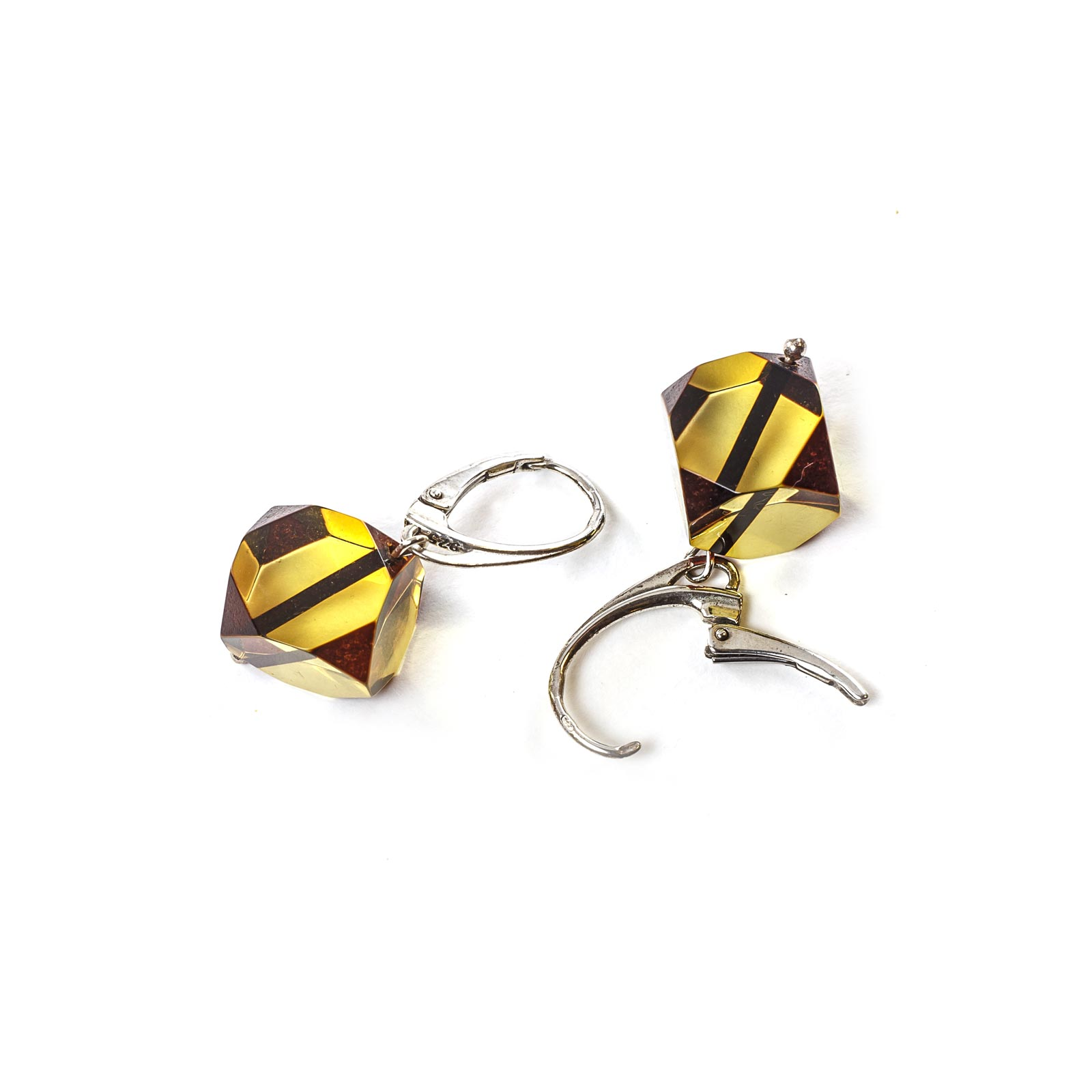 "Silver Earrings with Natural Baltic Amber ""Lucky Dice"""
