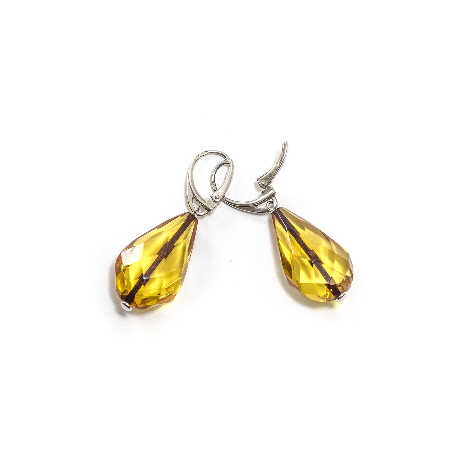 """Silver Earrings with Natural Baltic Amber """"Raindrops"""" Faceted"""