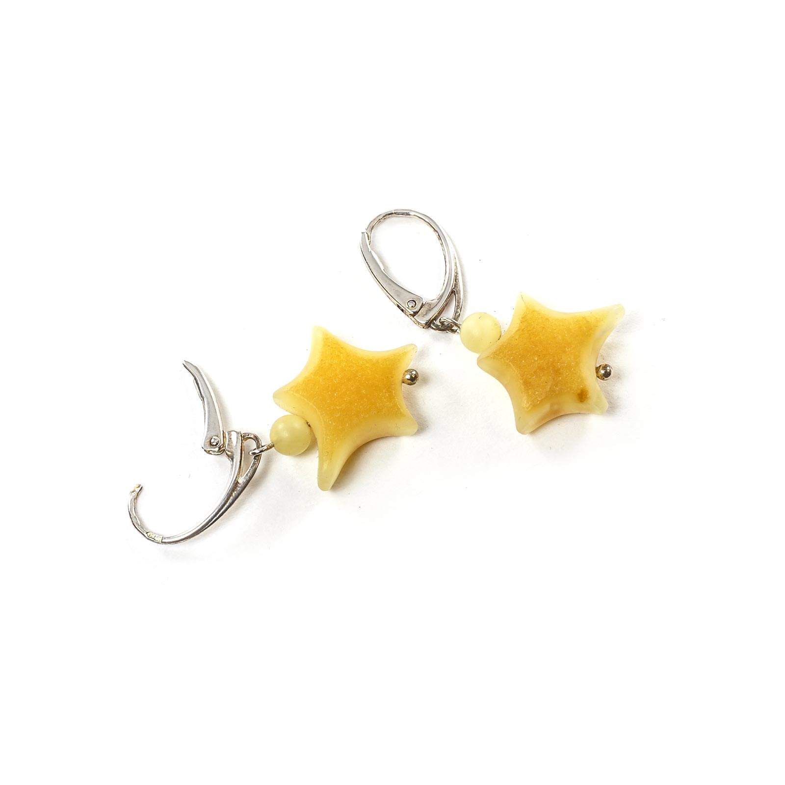 "Silver Earrings with Natural Baltic Amber ""Stars"""