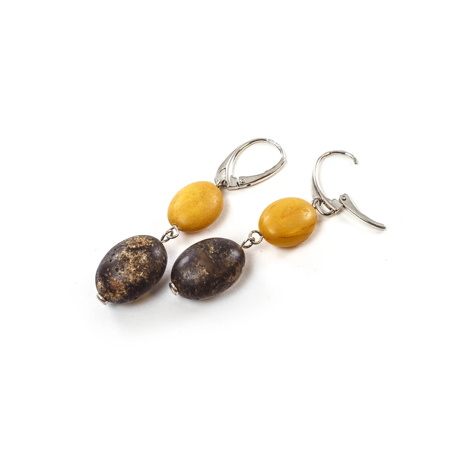 "Silver Earrings with Natural Baltic Amber ""Two Sisters"""