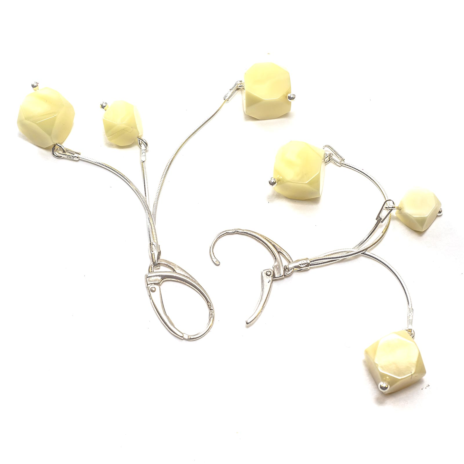 """Silver Earrings with Natural Baltic Amber """"Intrigue"""" Yellow"""