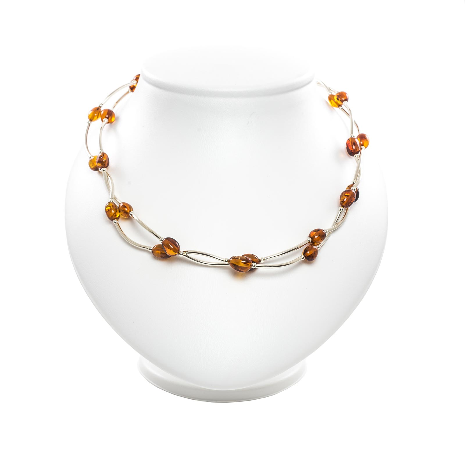 """Silver Necklace with Natural Baltic Amber """"Desire"""""""