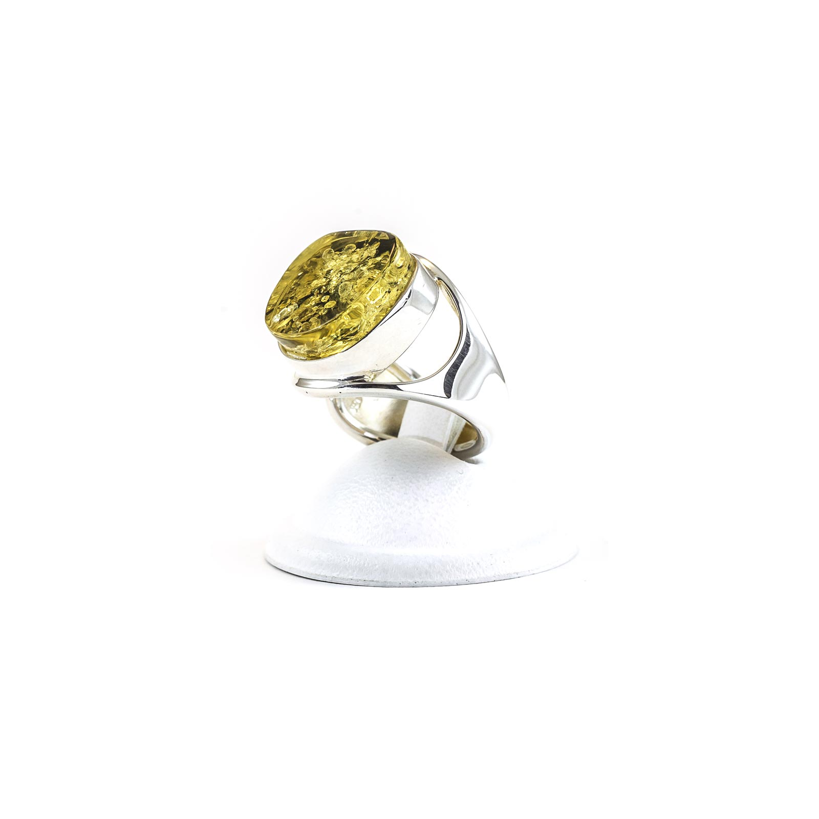 "Silver Ring With Natural Baltic Amber ""Lantern"""