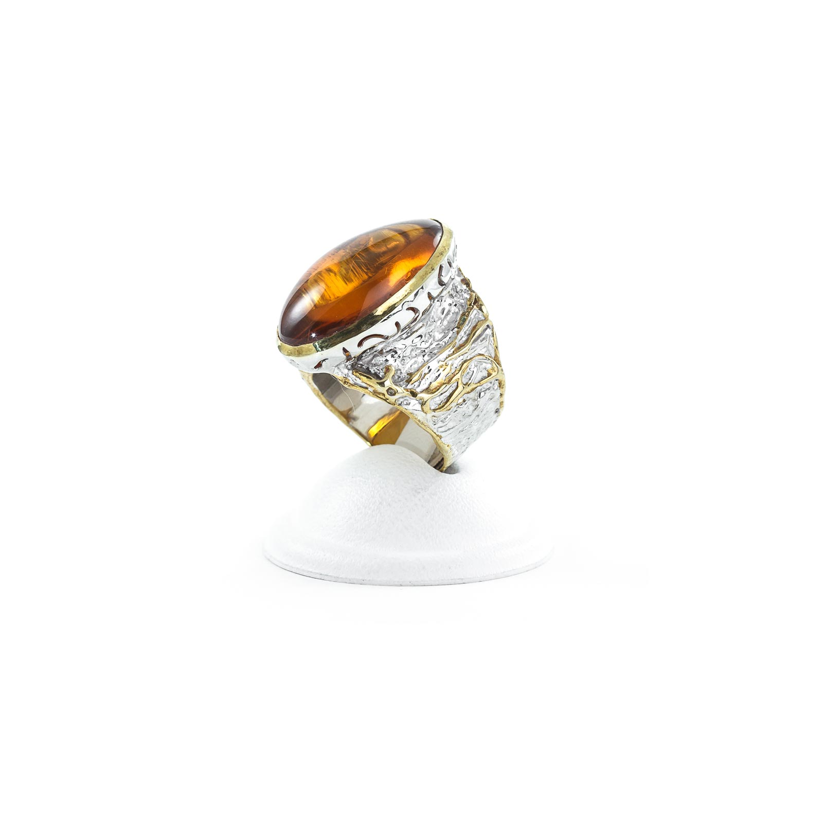 """Silver Ring With Natural Baltic Amber """"Relic"""""""