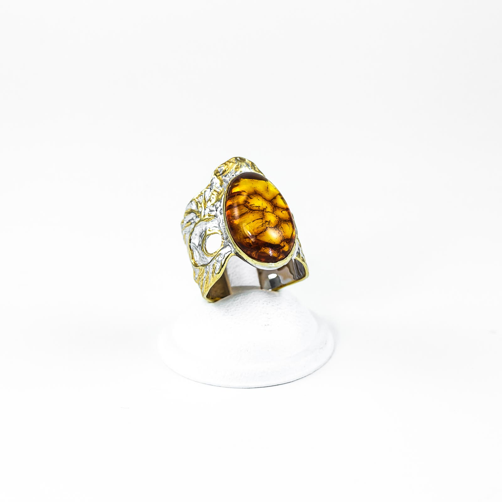 Silver Ring With Natural Baltic Amber
