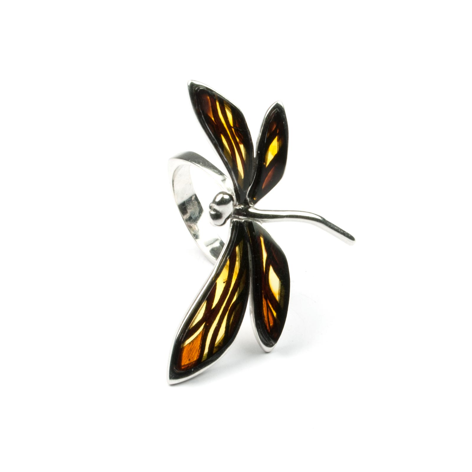 "Silver Ring with Natural Baltic Amber ""Dragonfly"""