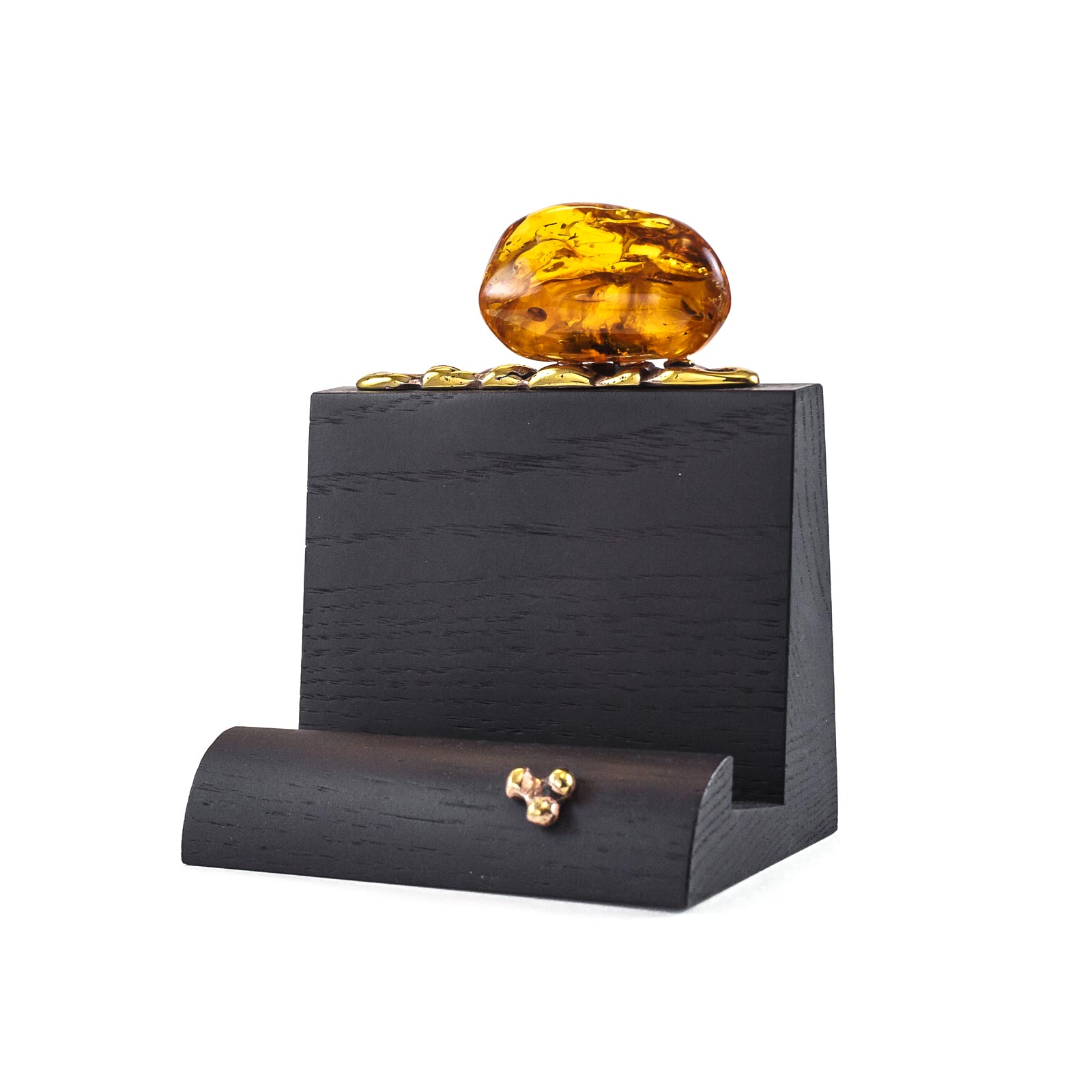 Business Card Holder with Natural Baltic Amber Piece