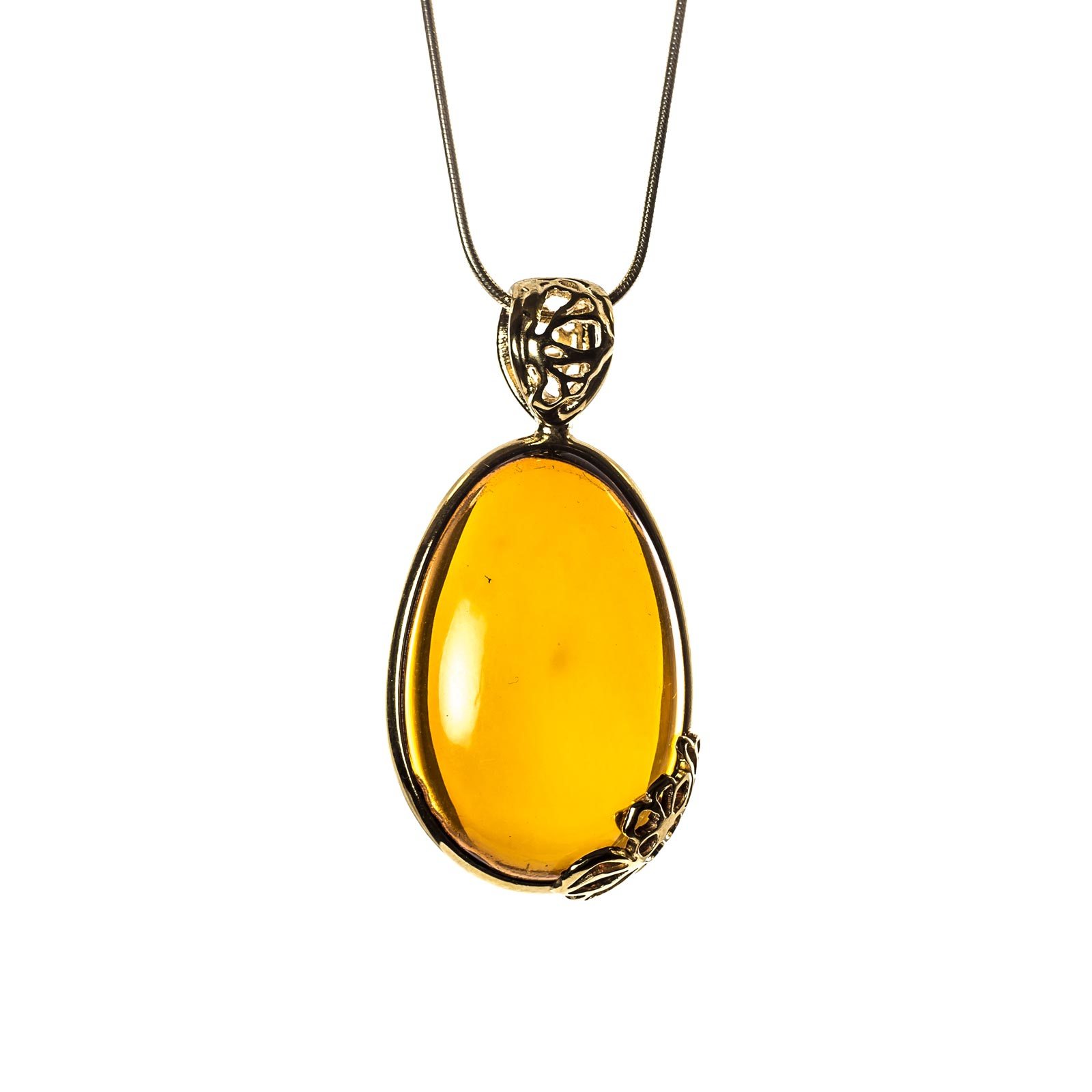 "Amber Pendant with Gold Plated Silver ""Sweetness II"""