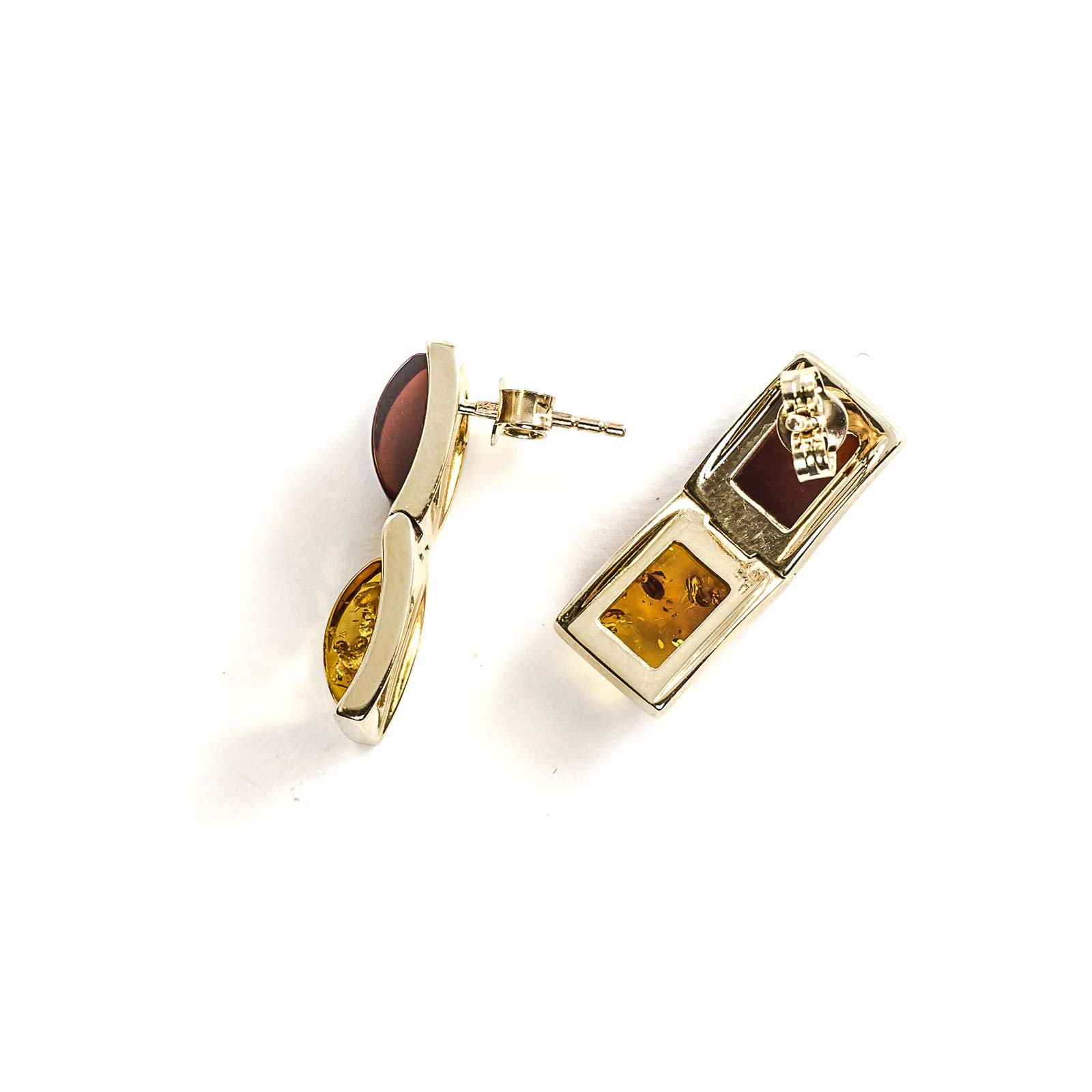 "14k Gold Earrings with Natural Baltic Amber ""Alliance"" Mix"