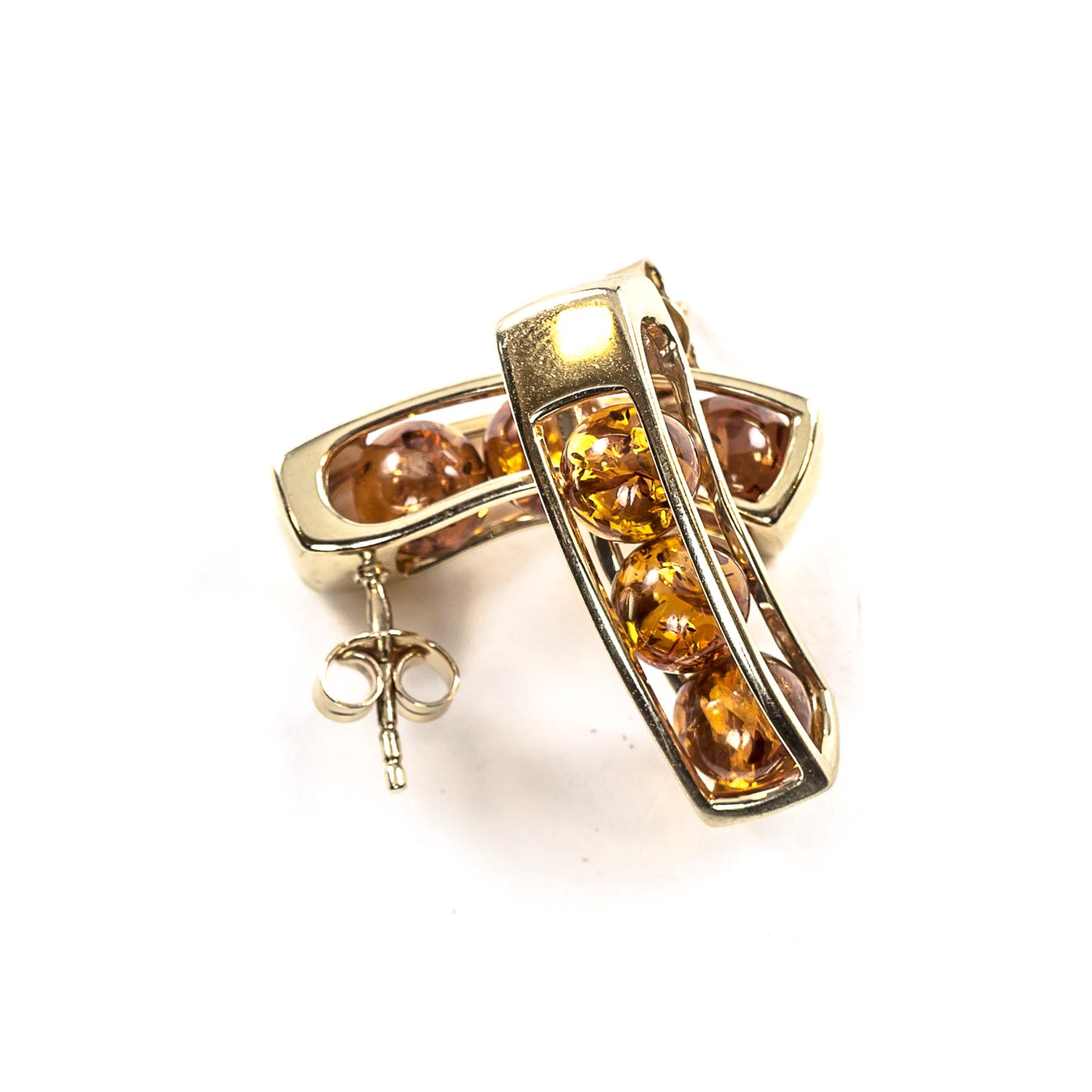 """14k Gold Earrings with Natural Baltic Amber """"Aurora"""" Cognac"""