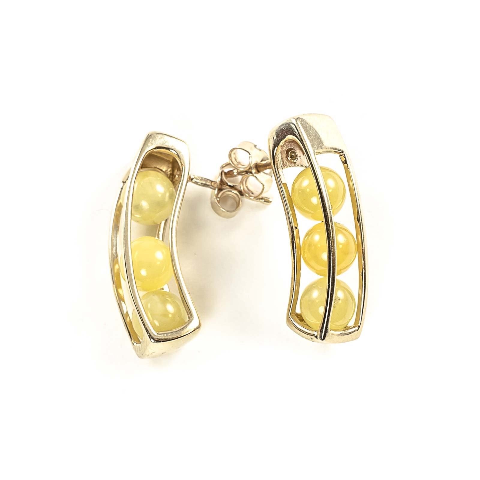 "14k Gold Earrings with Natural Baltic Amber ""Aurora"" Yellow"