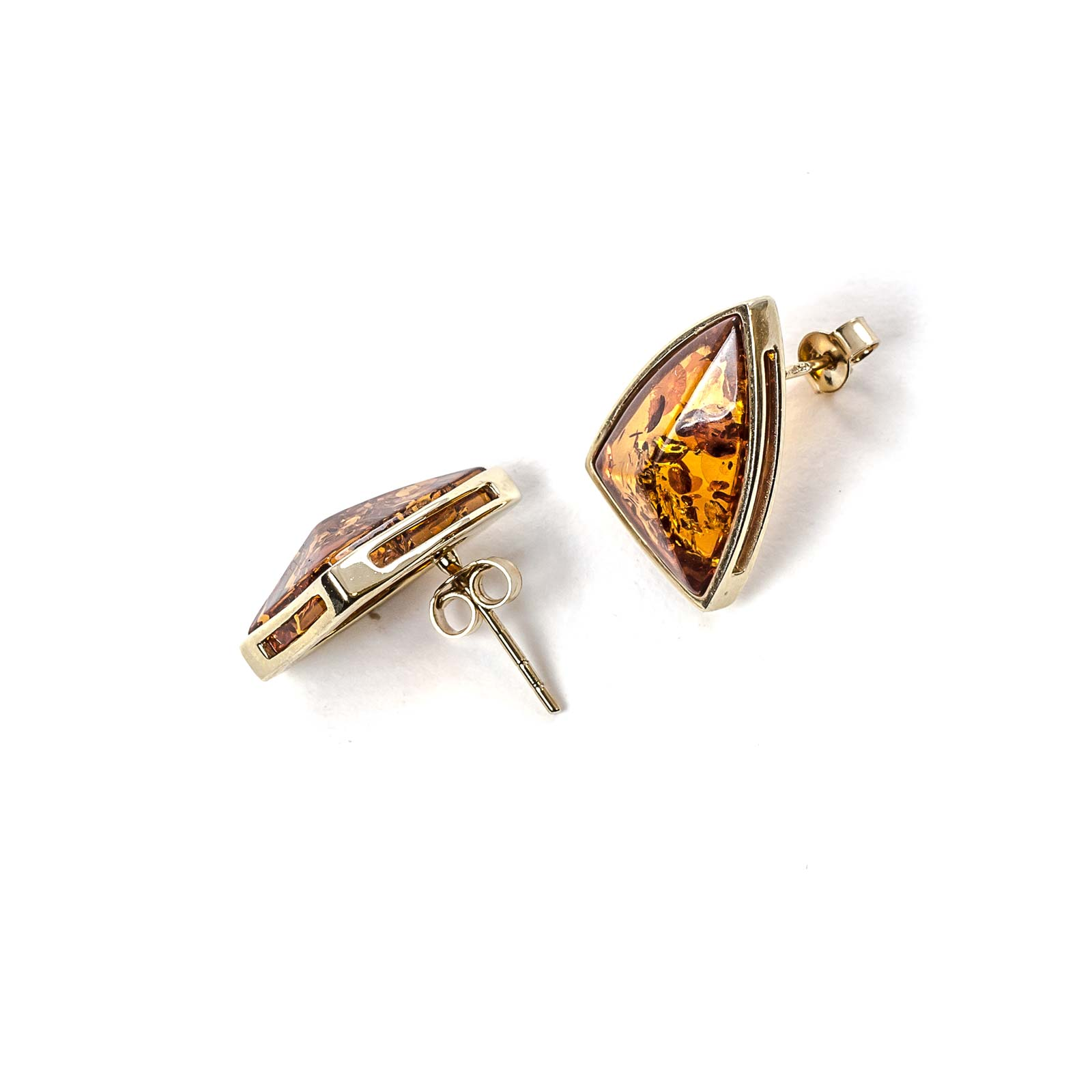 """14k Gold Earrings with Natural Baltic Amber """"Bravo"""""""