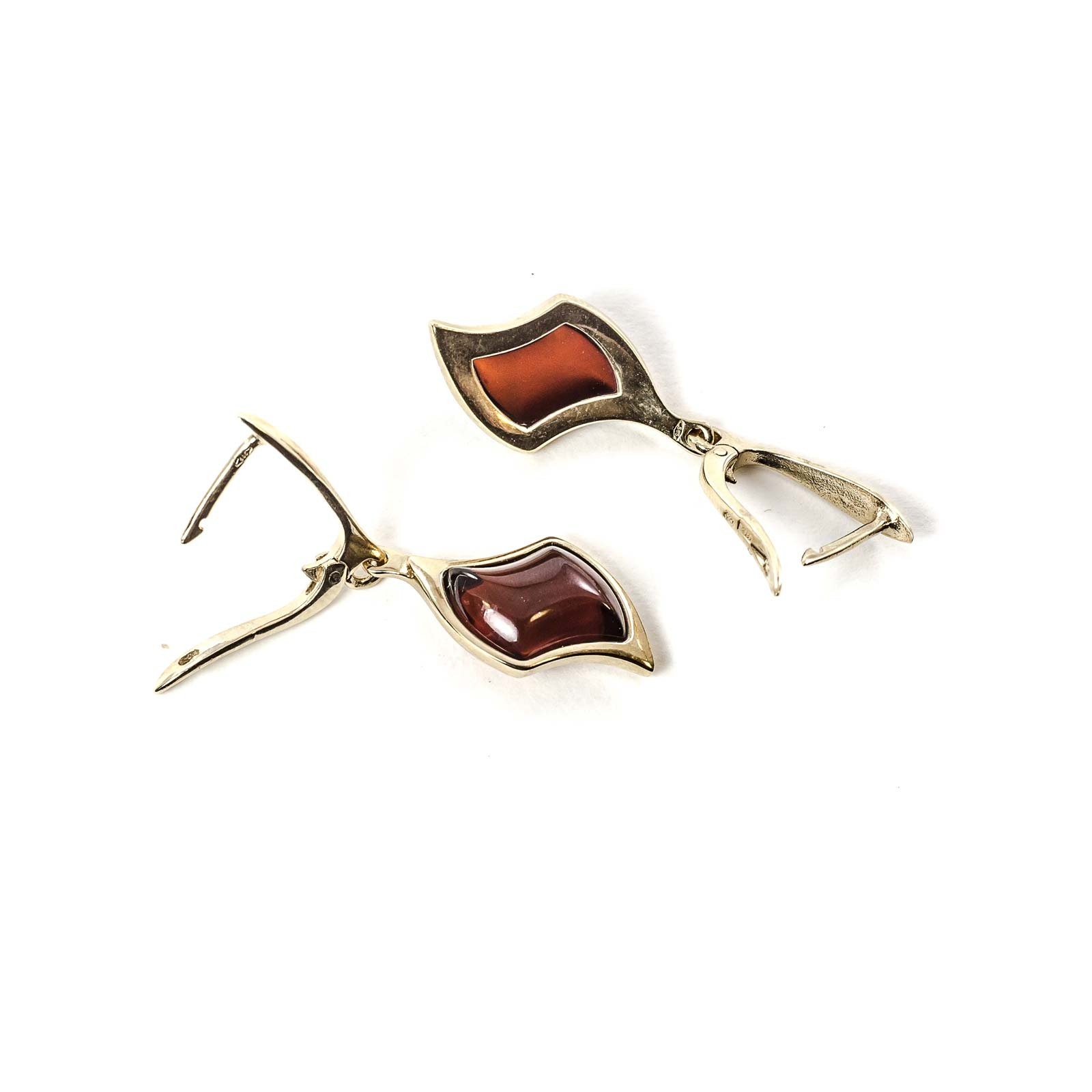"""14k Gold Earrings with Natural Baltic Amber """"Beau Monde"""" Cherry"""