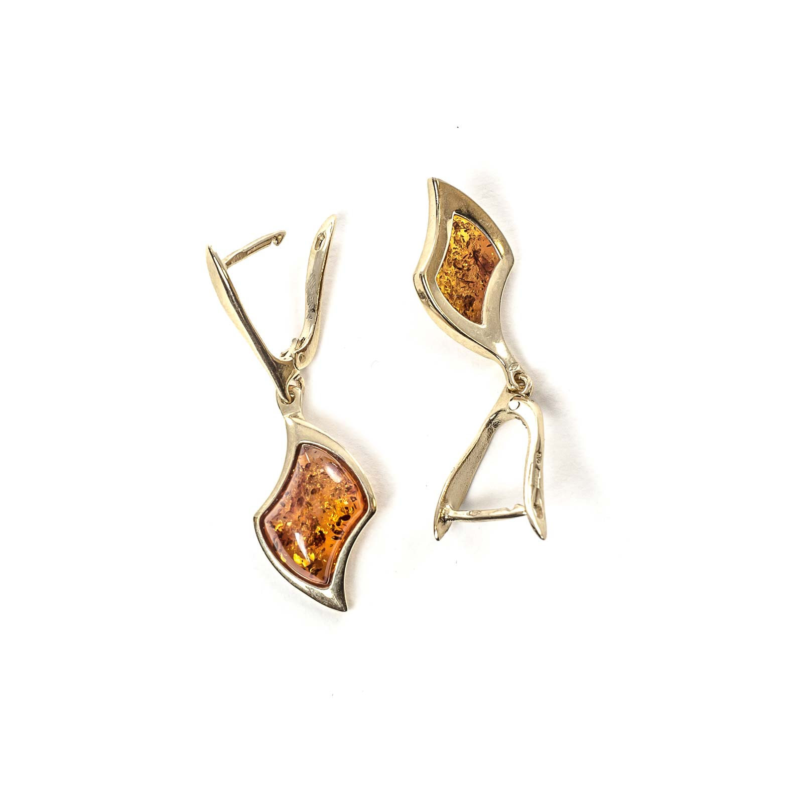 "14k Gold Earrings with Natural Baltic Amber ""Beau Monde"" Cognac"
