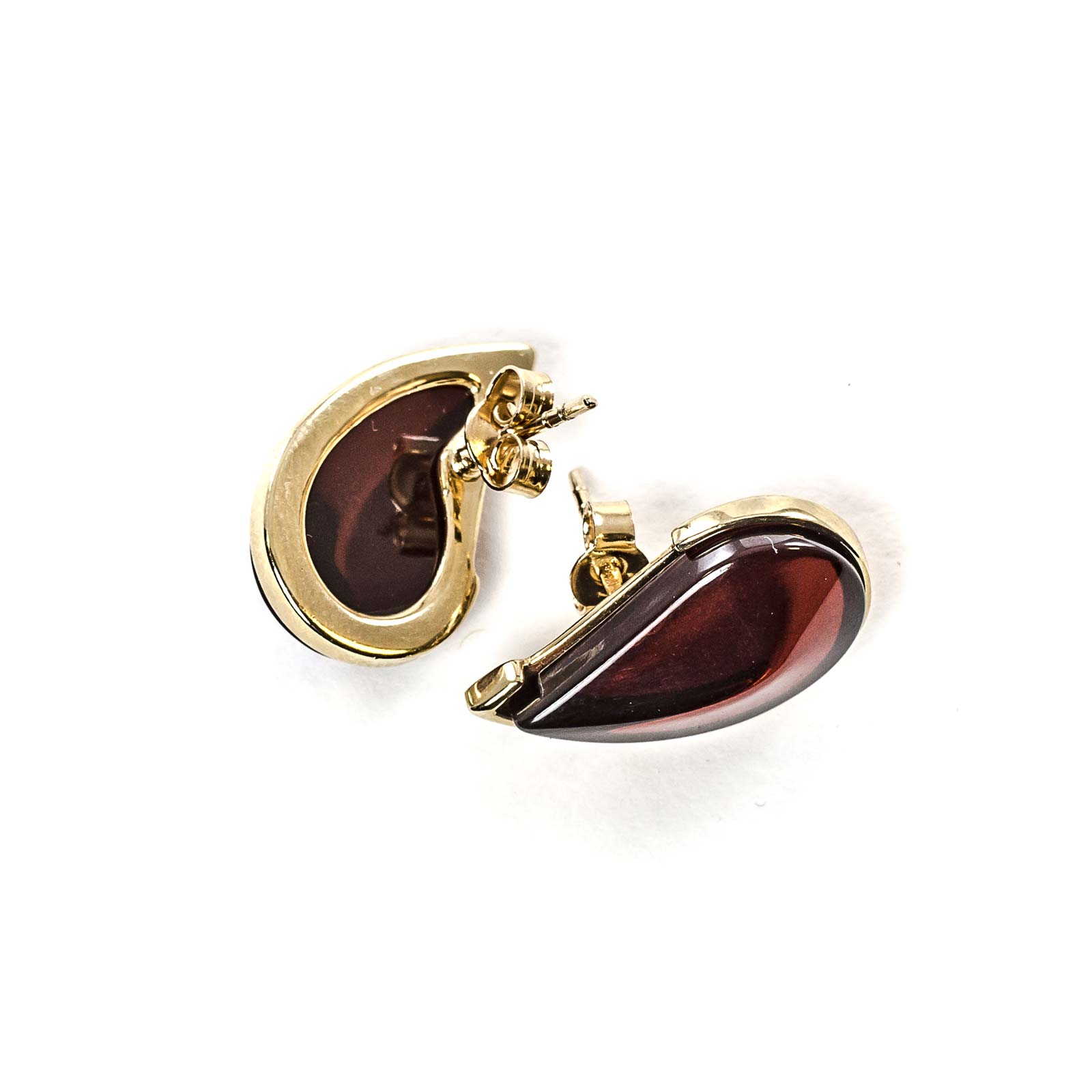 """14k Gold Earrings with Natural Baltic Amber """"Leaflet"""" Cherry"""