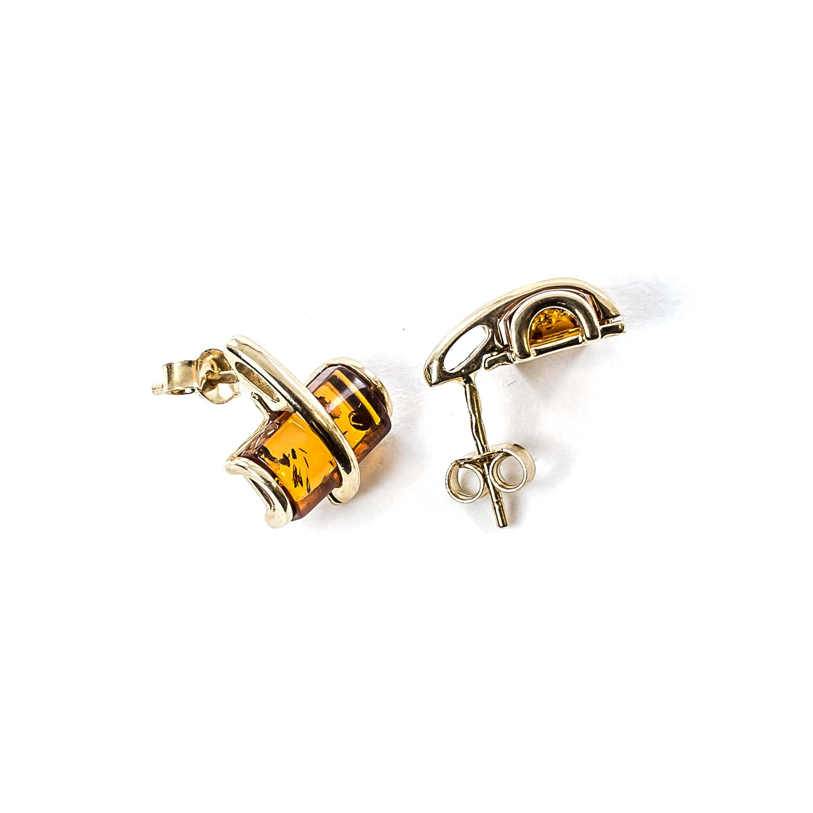 """14k Gold Earrings with Natural Baltic Amber """"Radiance"""""""