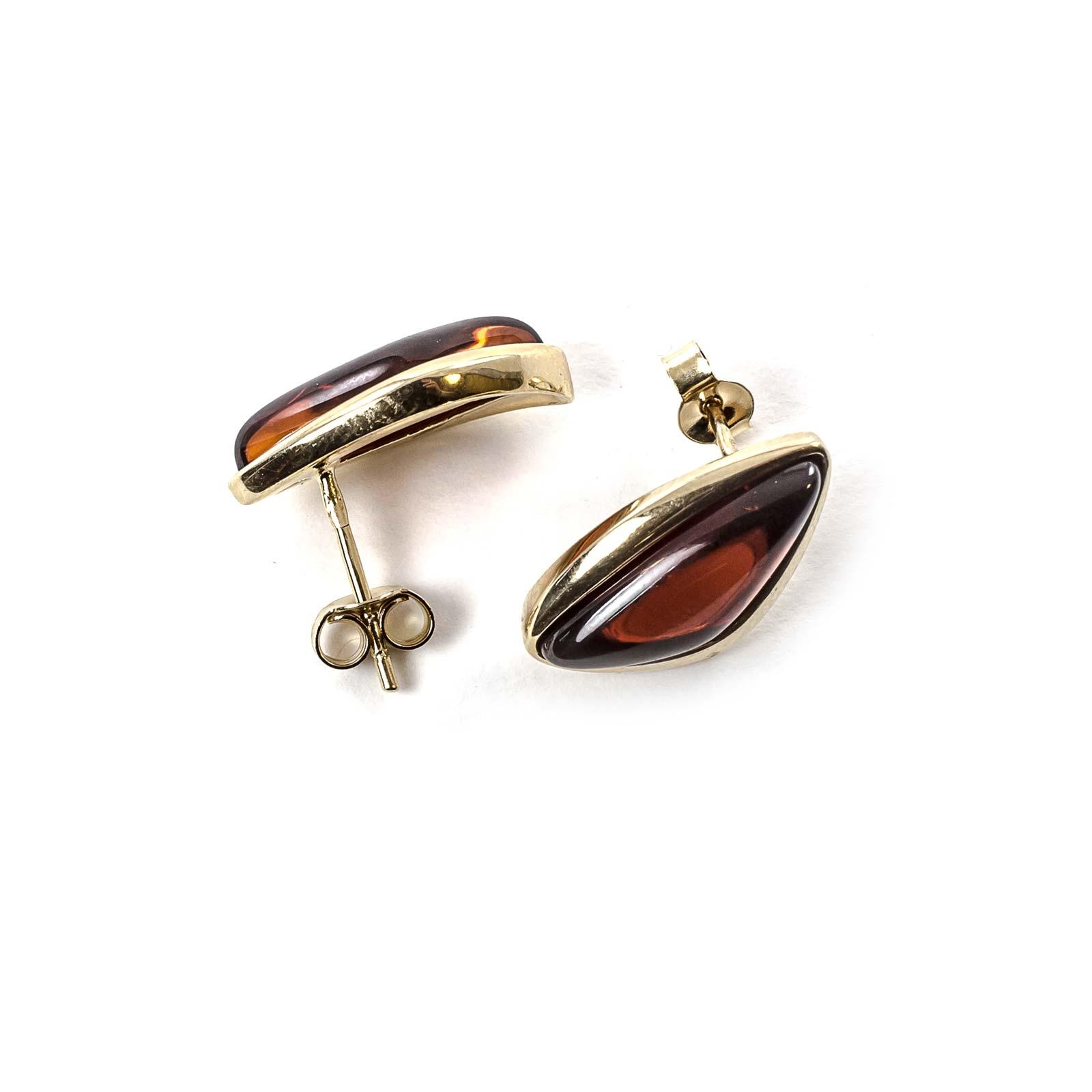 """14k Gold Earrings with Natural Baltic Amber """"Velvet"""""""