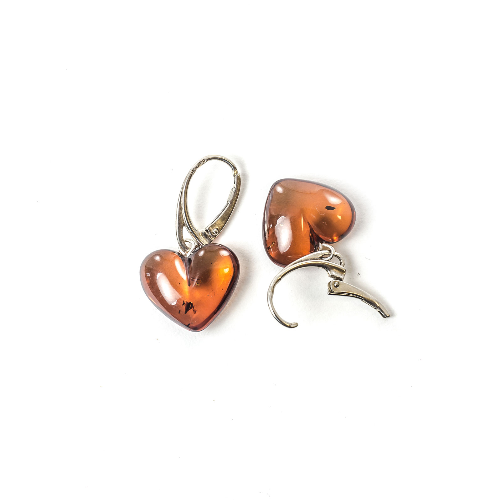 """Natural Baltic Amber Earrings on Silver Clasp """"Grace"""" Cherry"""