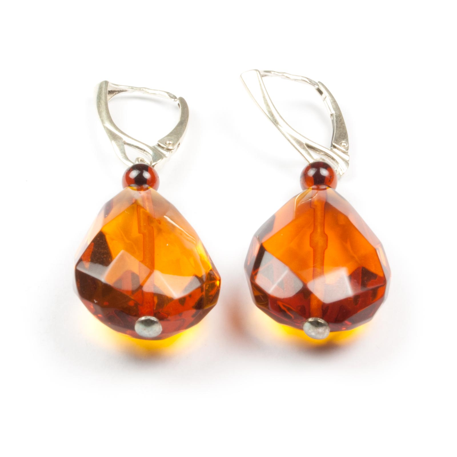 "Natural Baltic Amber Earrings with Silver Clasp ""Veiling"""