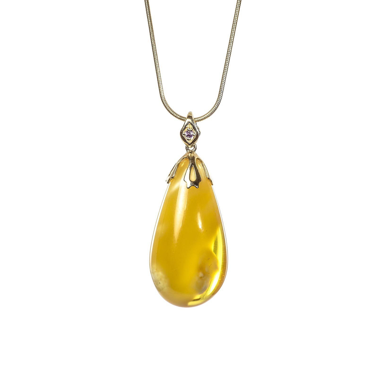 "Natural Baltic Amber Pendant with 14k Gold ""Sandler"""