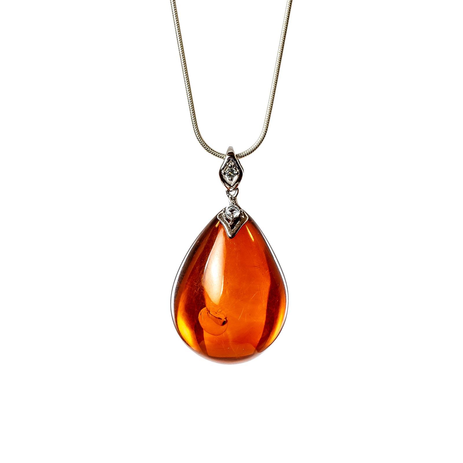 "Natural Baltic Amber Pendant with 14k White Gold ""Malinari"""