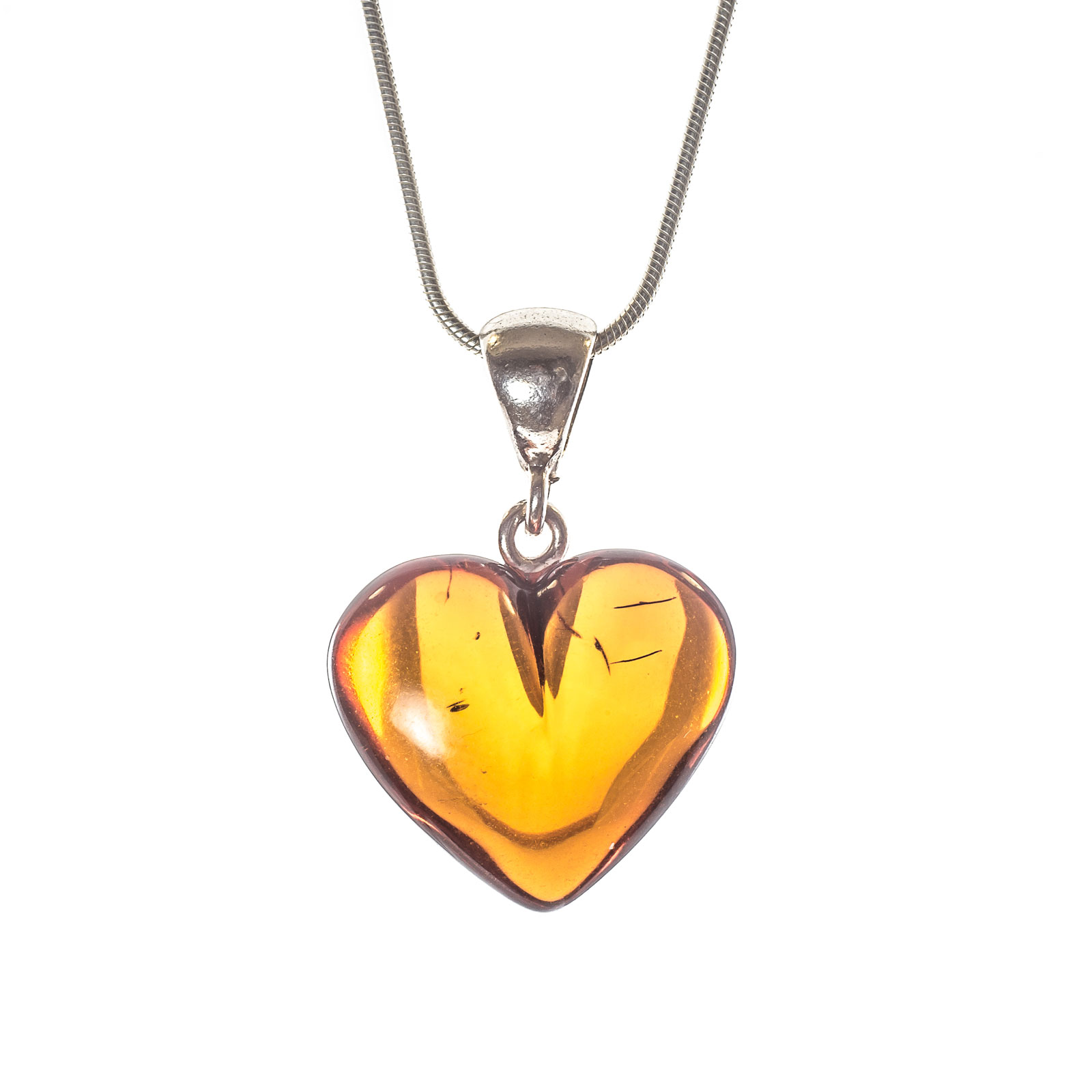 "Silver Pendant with Natural Baltic Amber ""Treasure II"" Cherry"